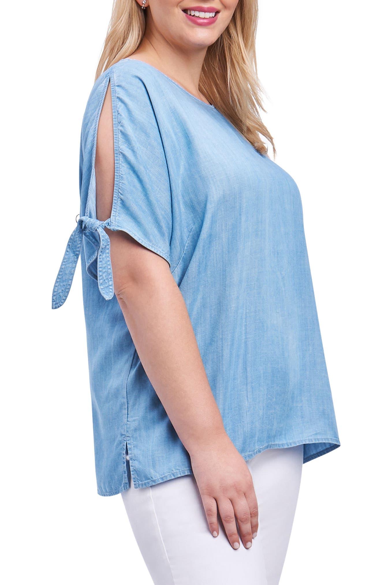 Laura Tie Sleeve Chambray Shirt,                             Alternate thumbnail 2, color,                             Blue Wash