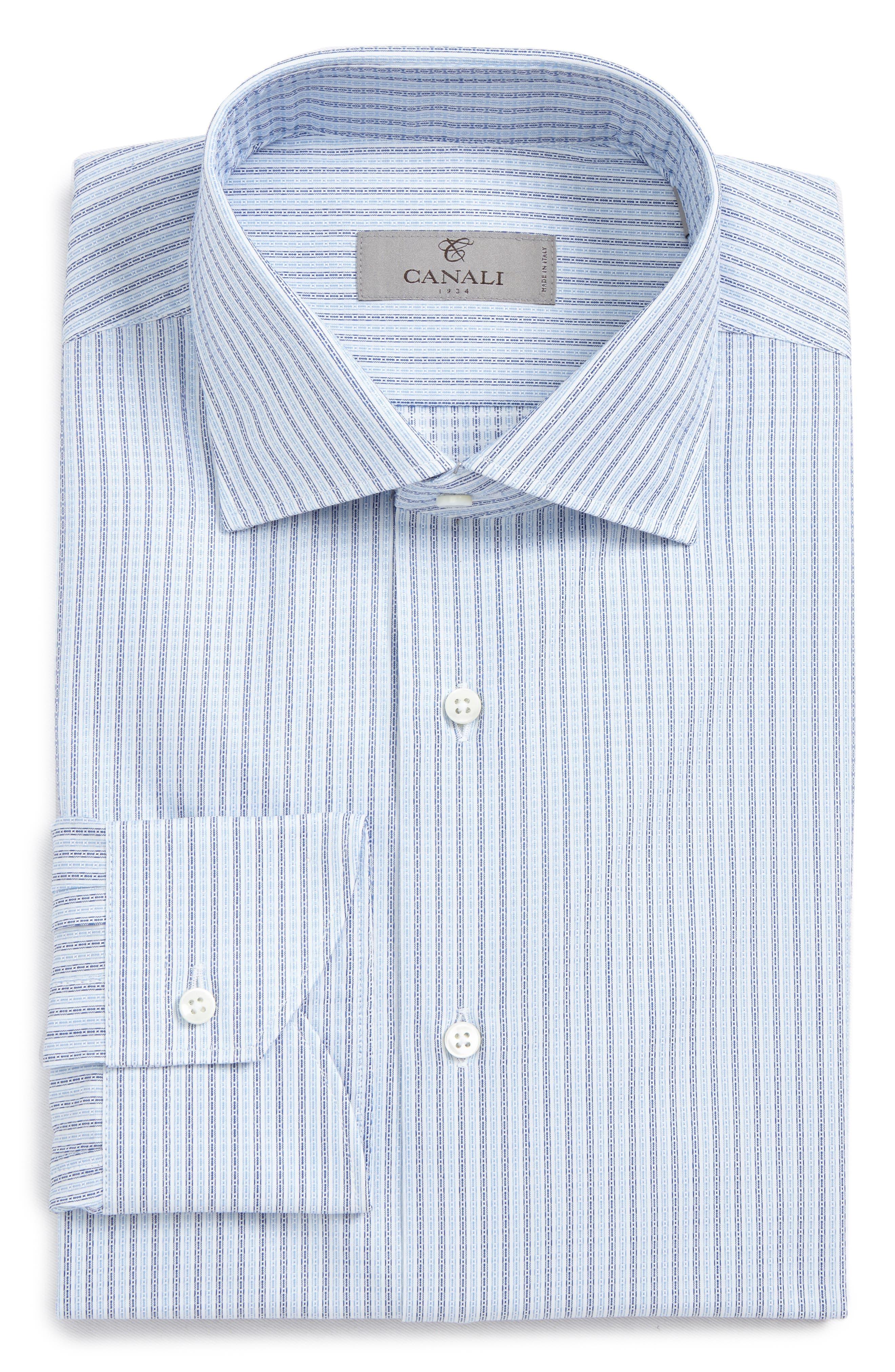 Regular Fit Geometric Dress Shirt,                         Main,                         color, Med Blue