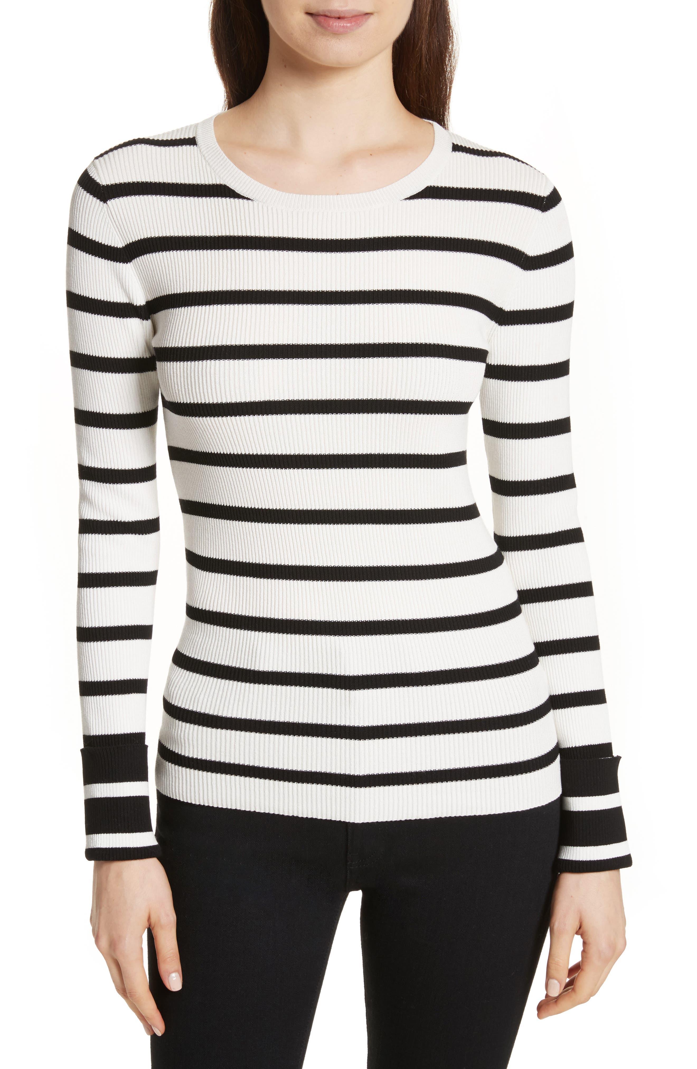 Stripe Rib Crewneck Pullover,                         Main,                         color, Eggshell/ New Black