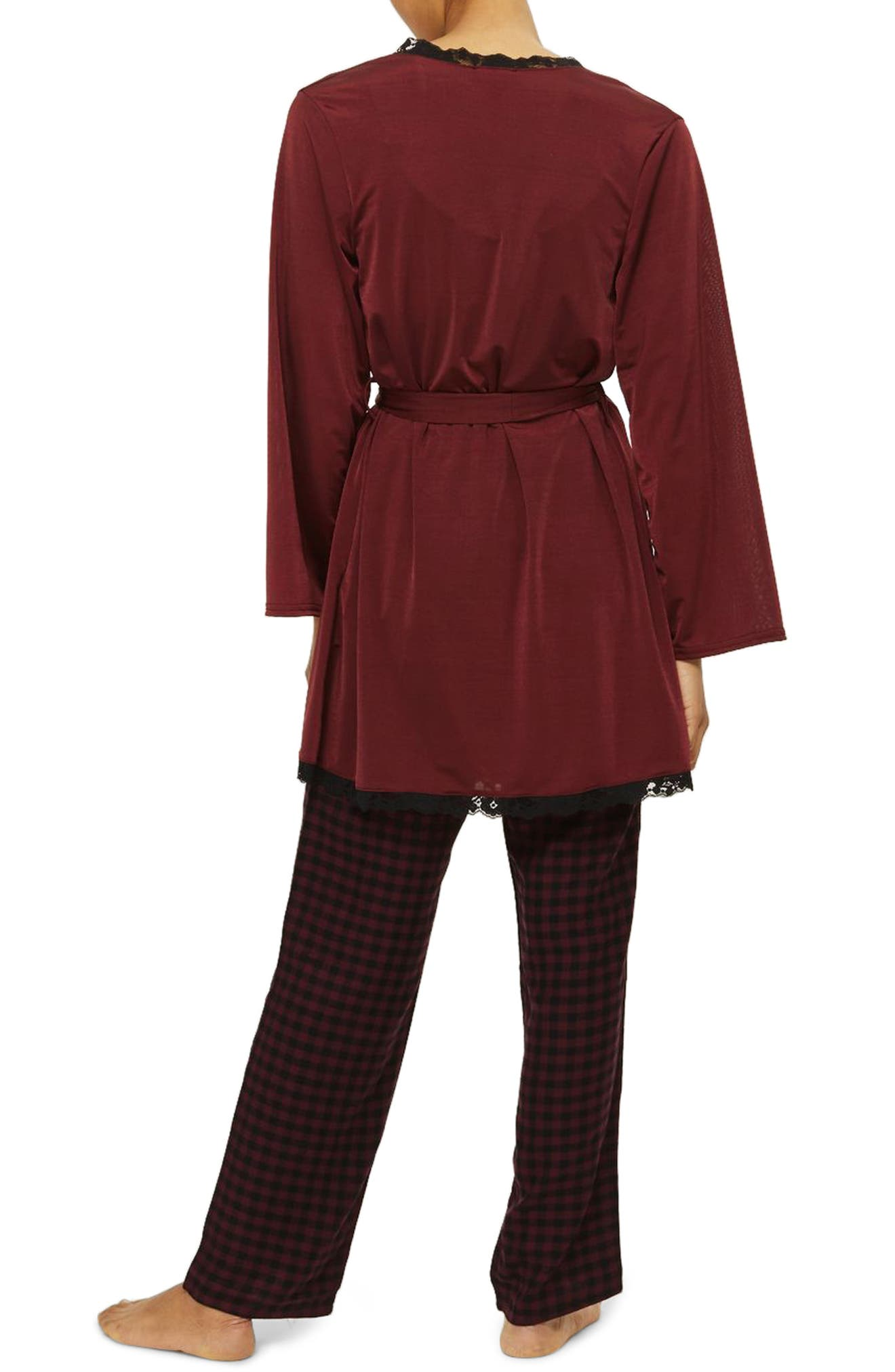 Satin Jersey Robe,                             Alternate thumbnail 2, color,                             Berry Multi