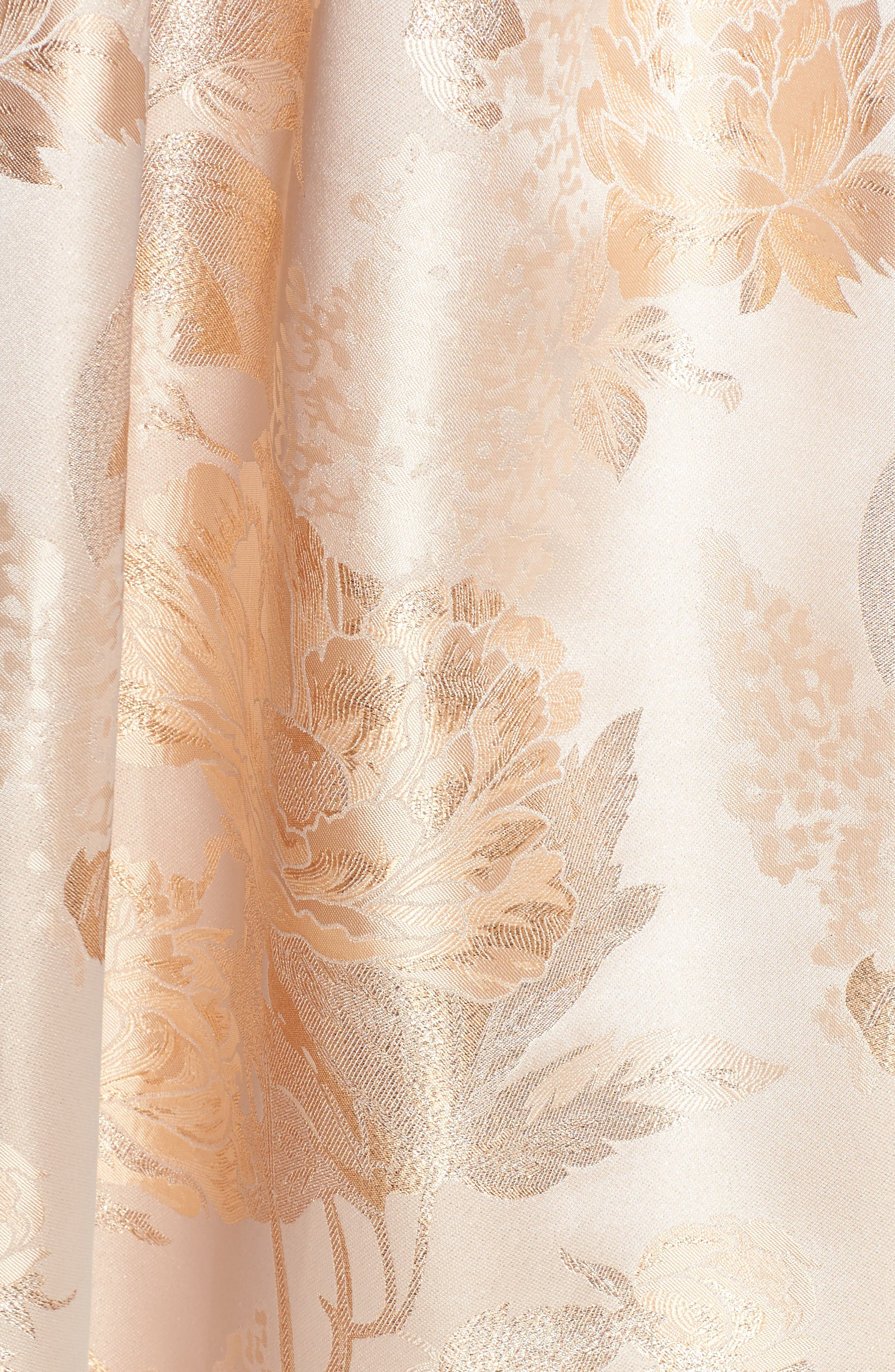 Belted Off the Shoulder Jacquard Ballgown,                             Alternate thumbnail 5, color,                             Champagne