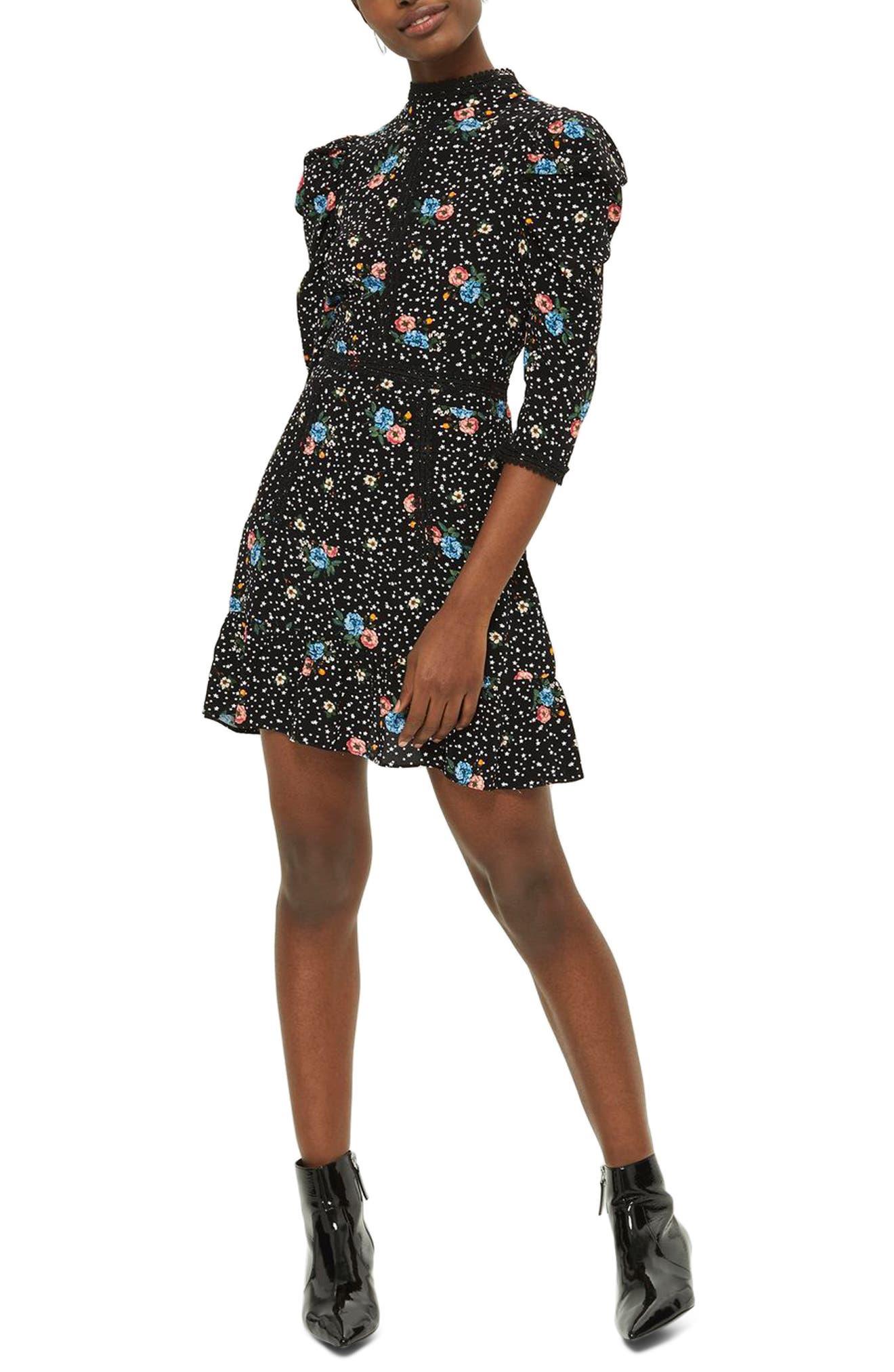 Lace-Up Back Floral Dress,                         Main,                         color, Black Multi