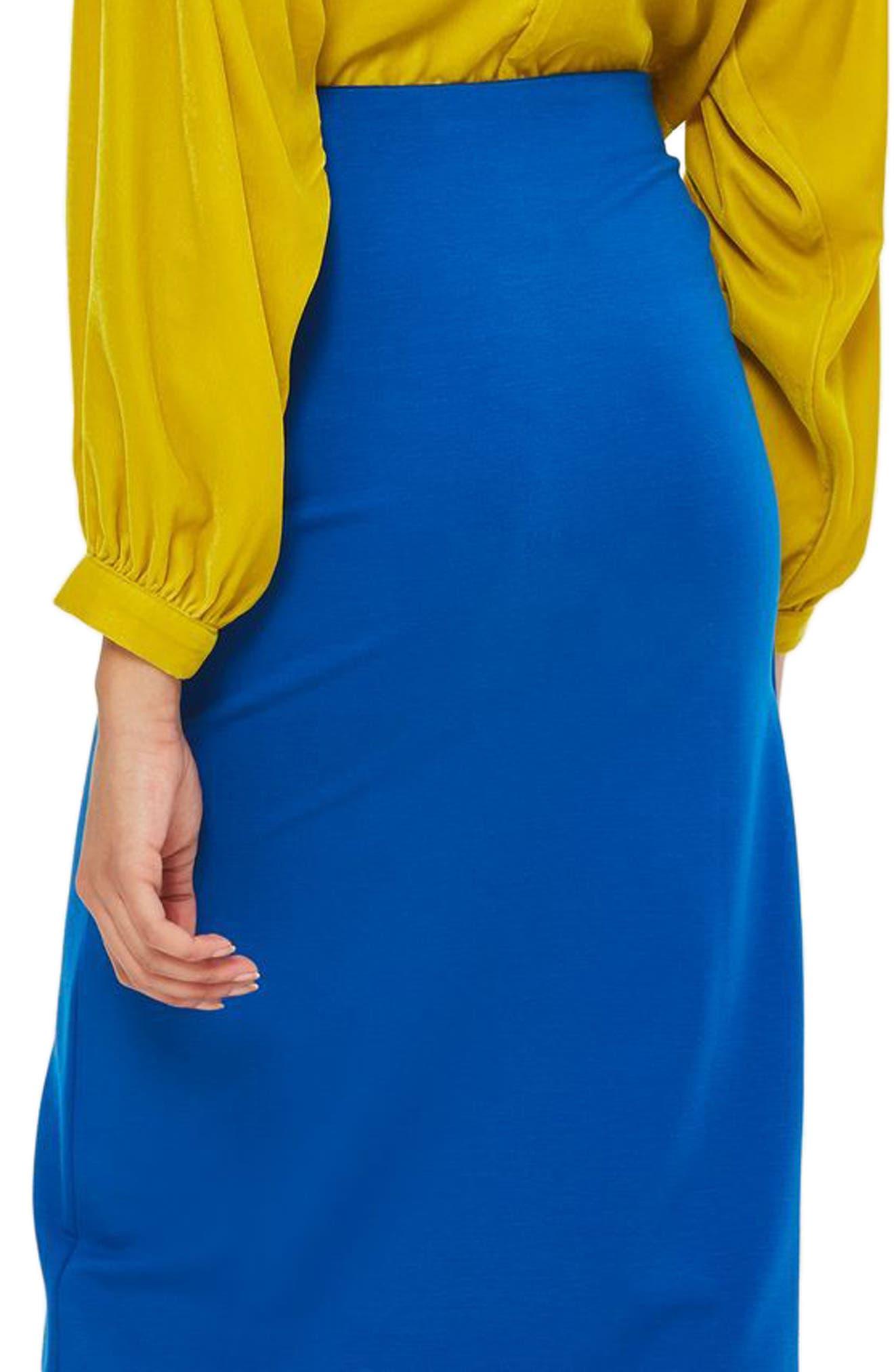 Eyelet Detail Wrap Jersey Skirt,                             Alternate thumbnail 3, color,                             Cobalt