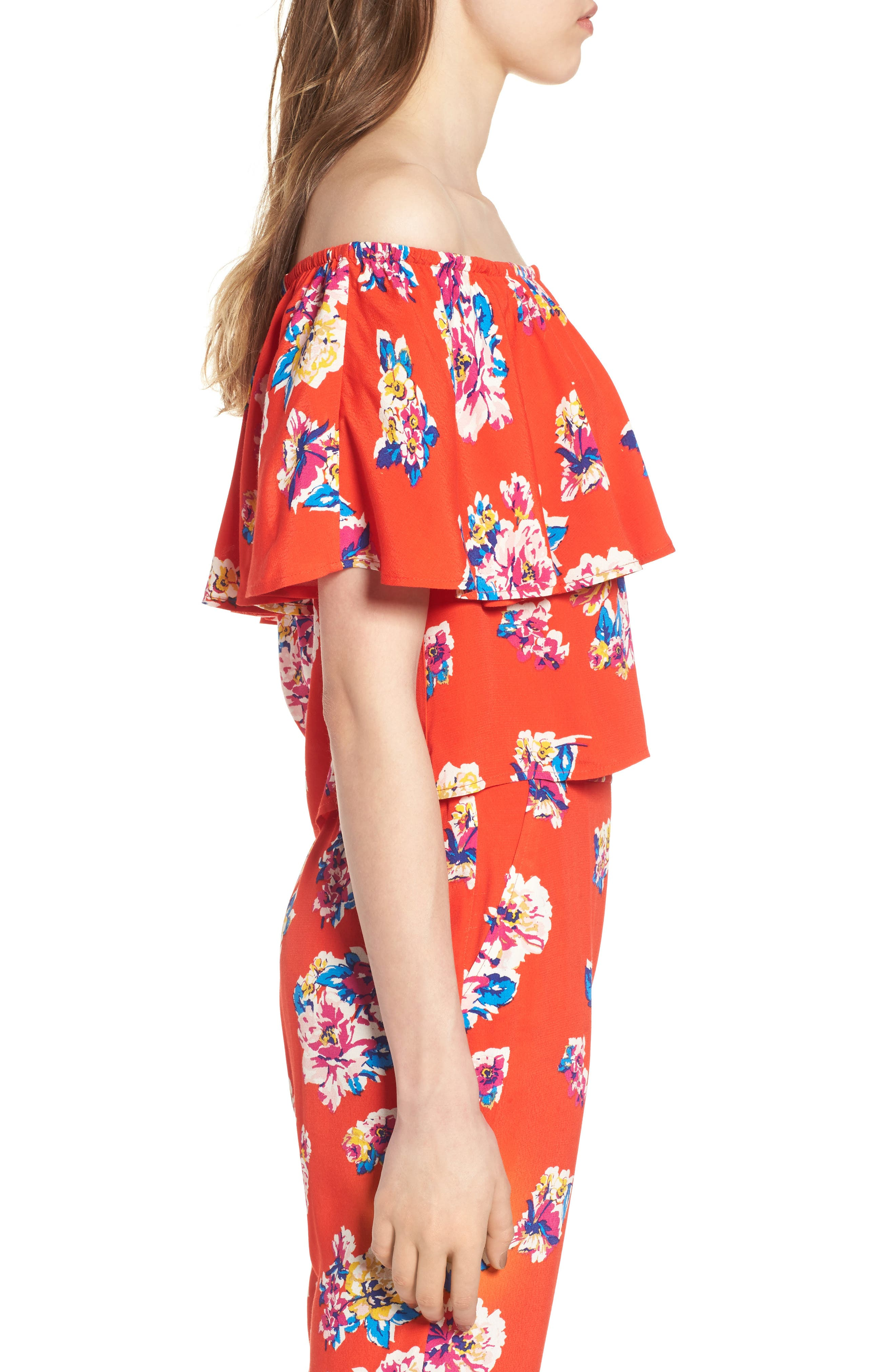 Print Ruffle Off the Shoulder Top,                             Alternate thumbnail 4, color,                             Red Fiery Bold Bloom