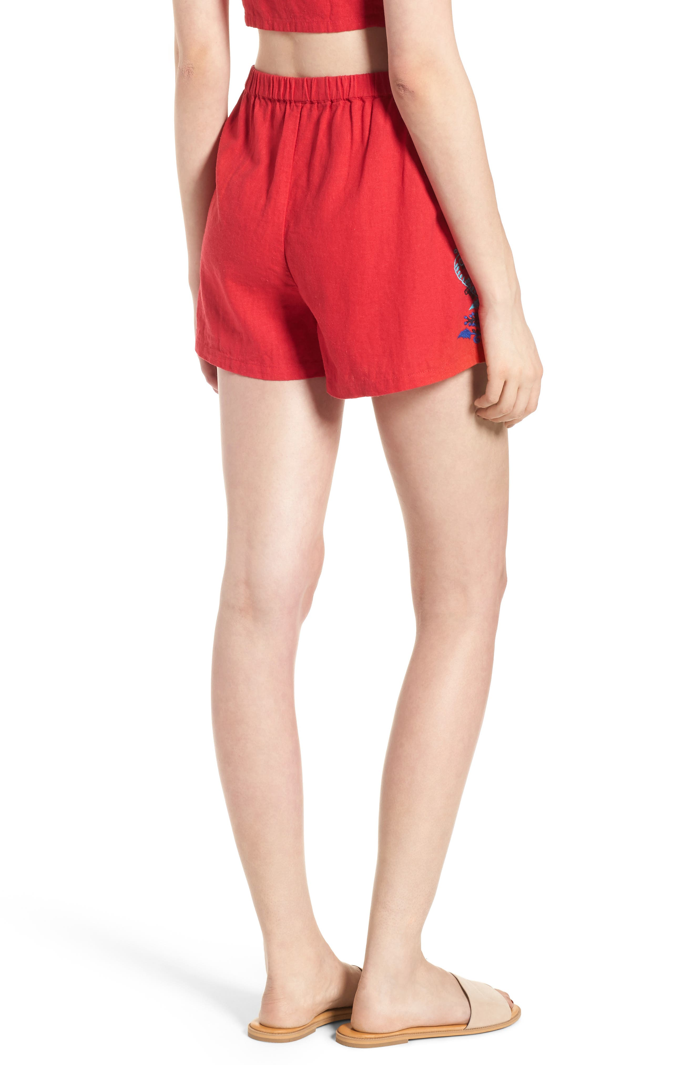 Embroidered Linen Blend Shorts,                             Alternate thumbnail 3, color,                             Red Lipstick