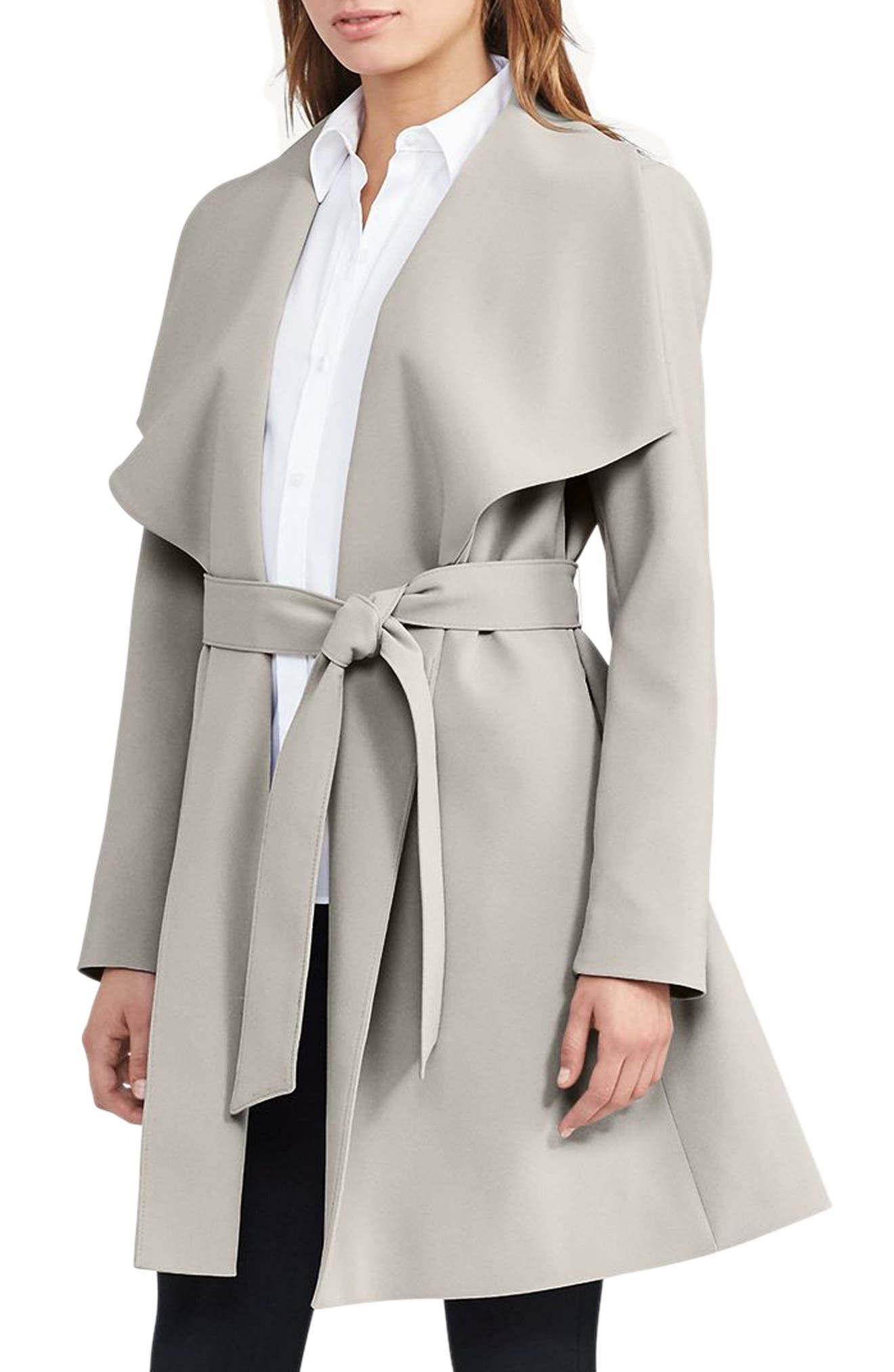 Belted Drape Front Coat,                             Main thumbnail 1, color,                             Cork