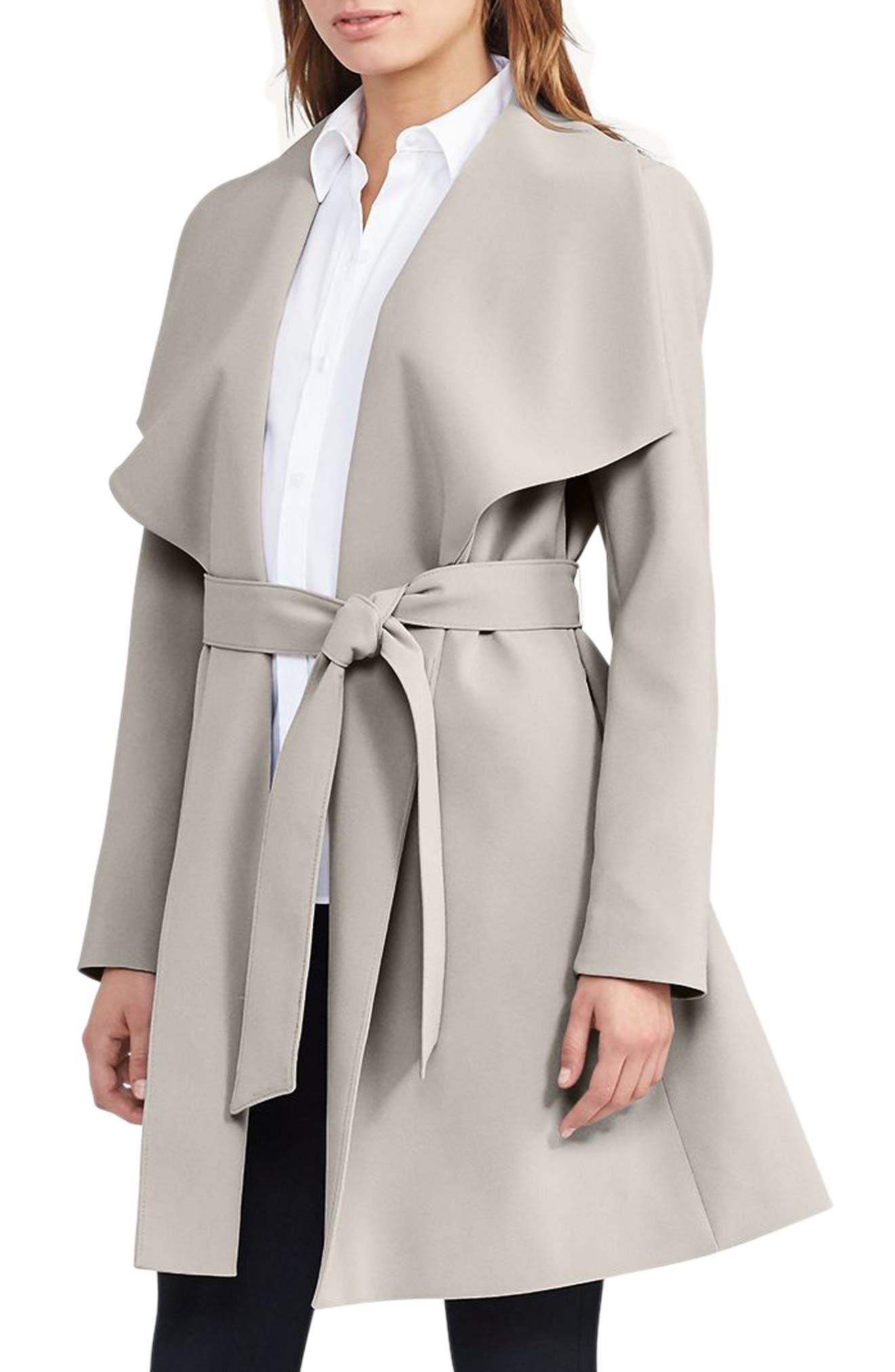 Lauren Ralph Lauren Belted Drape Front Coat (Regular & Petite)