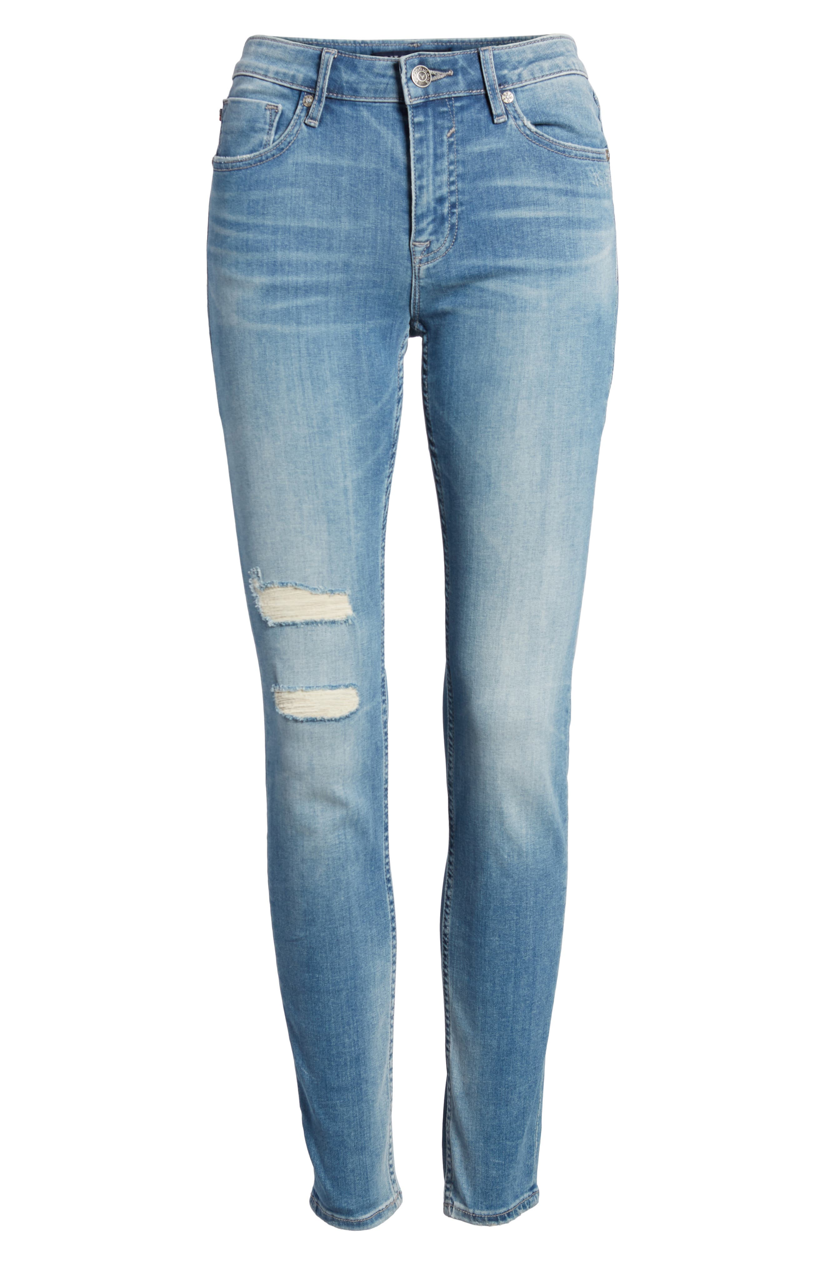 Marley Ripped Skinny Jeans,                             Alternate thumbnail 5, color,                             Light Wash