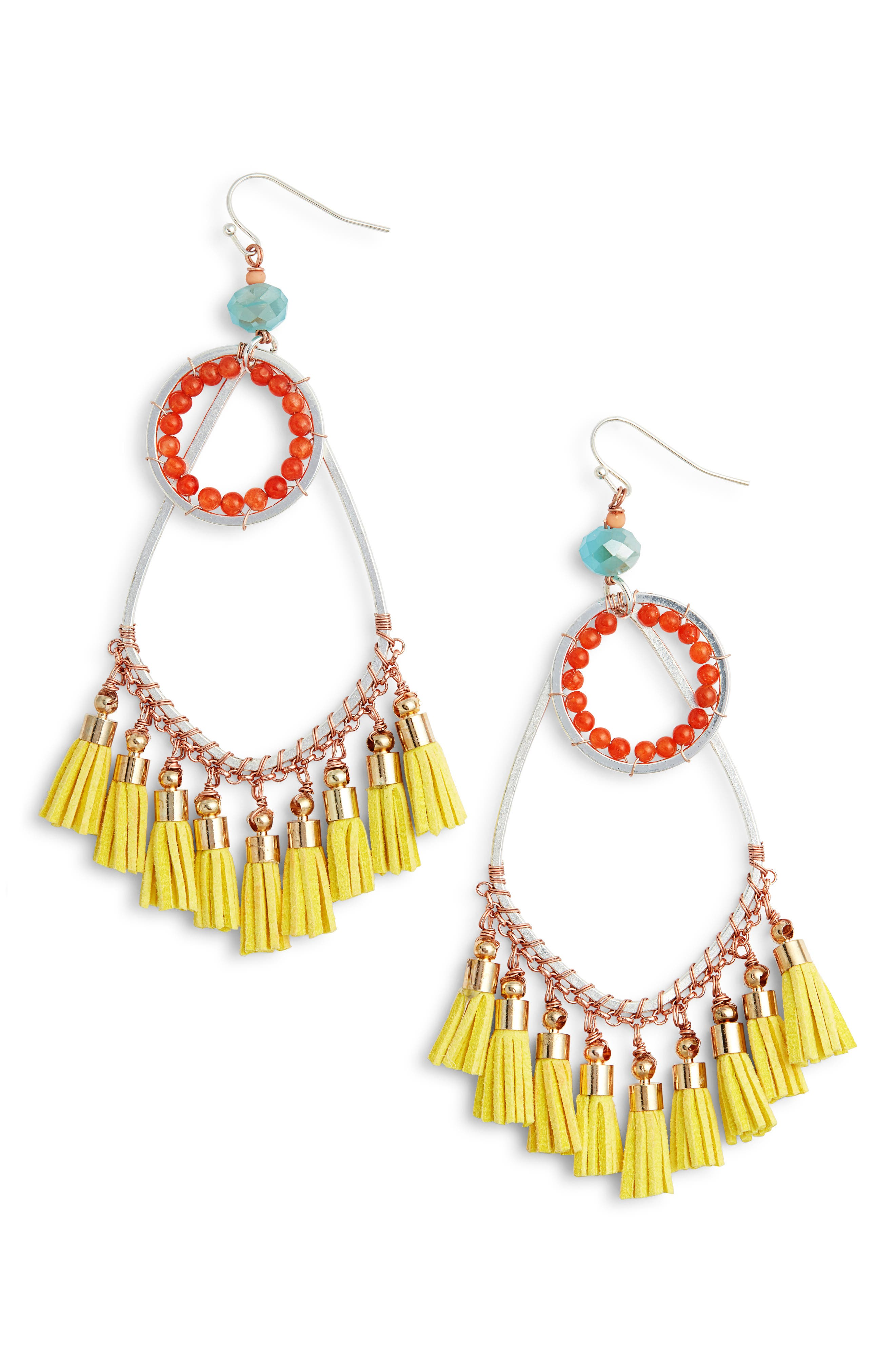Tassel Drop Earrings,                         Main,                         color, Yellow