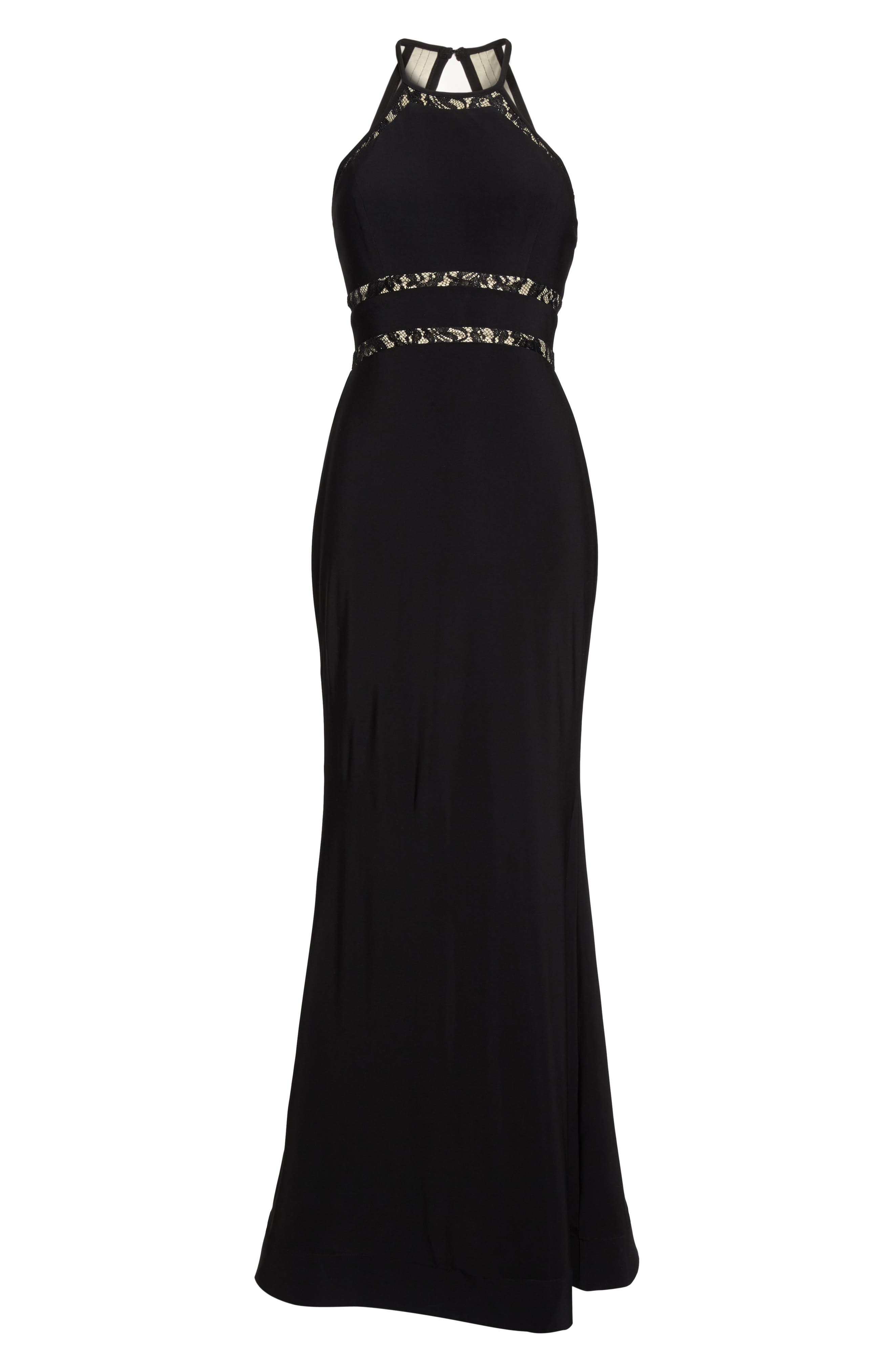Alternate Image 6  - Sequin Hearts Ruffle Back Halter Gown