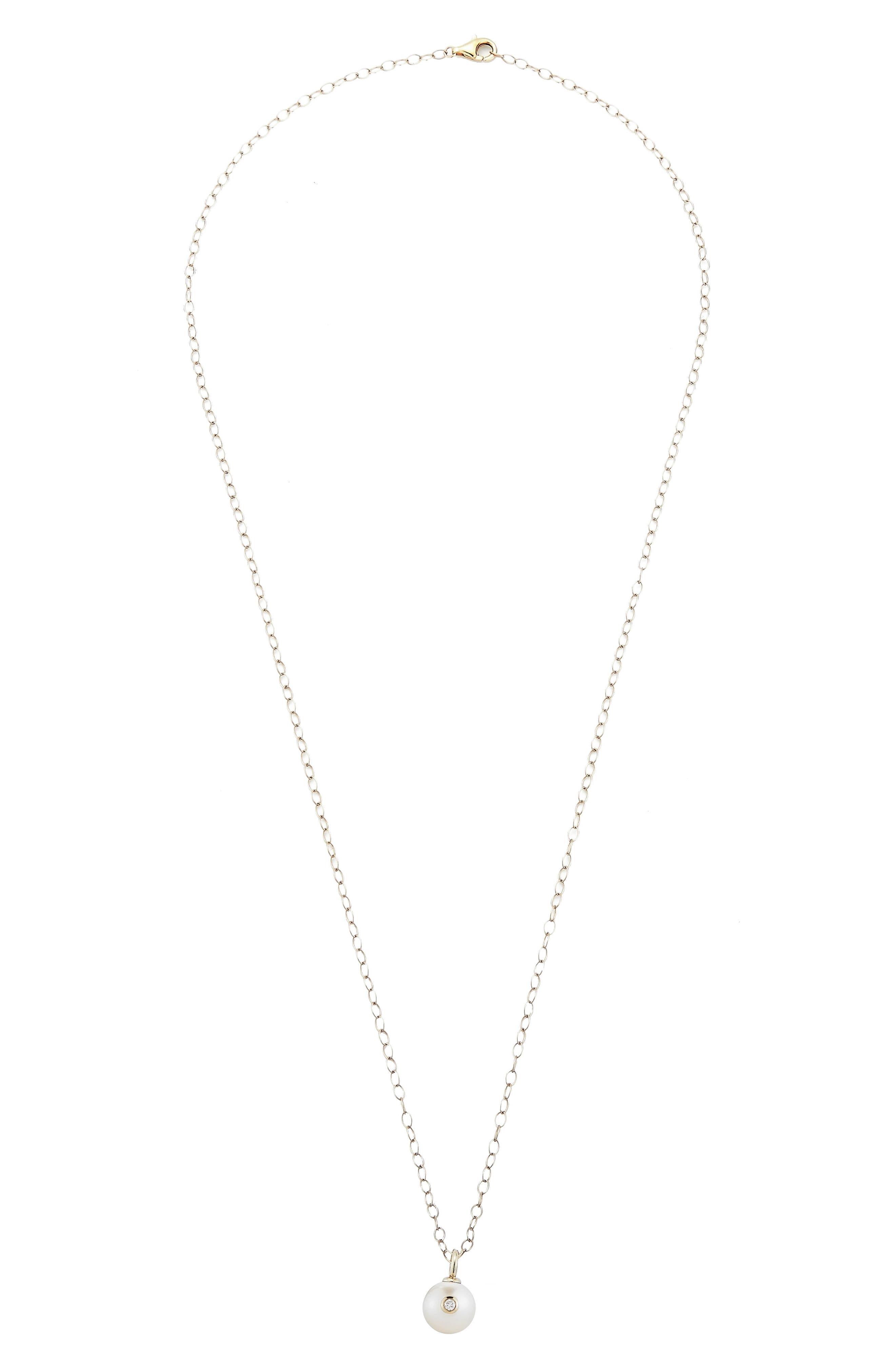 Mizuki Round Genuine Pearl & Diamond Pendant Necklace