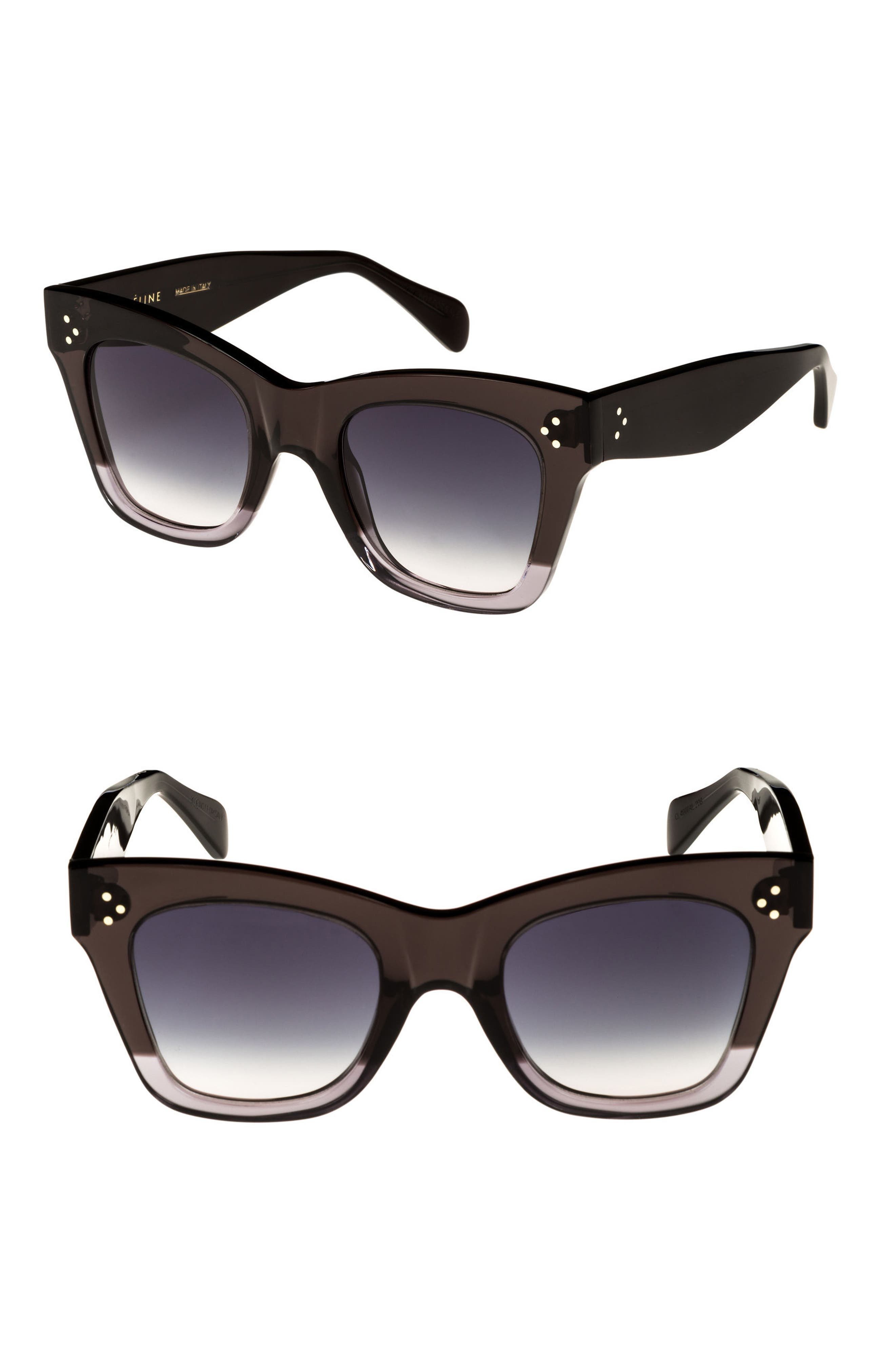 50mm Gradient Butterfly Sunglasses,                             Main thumbnail 1, color,                             Dark Grey/ Smoke