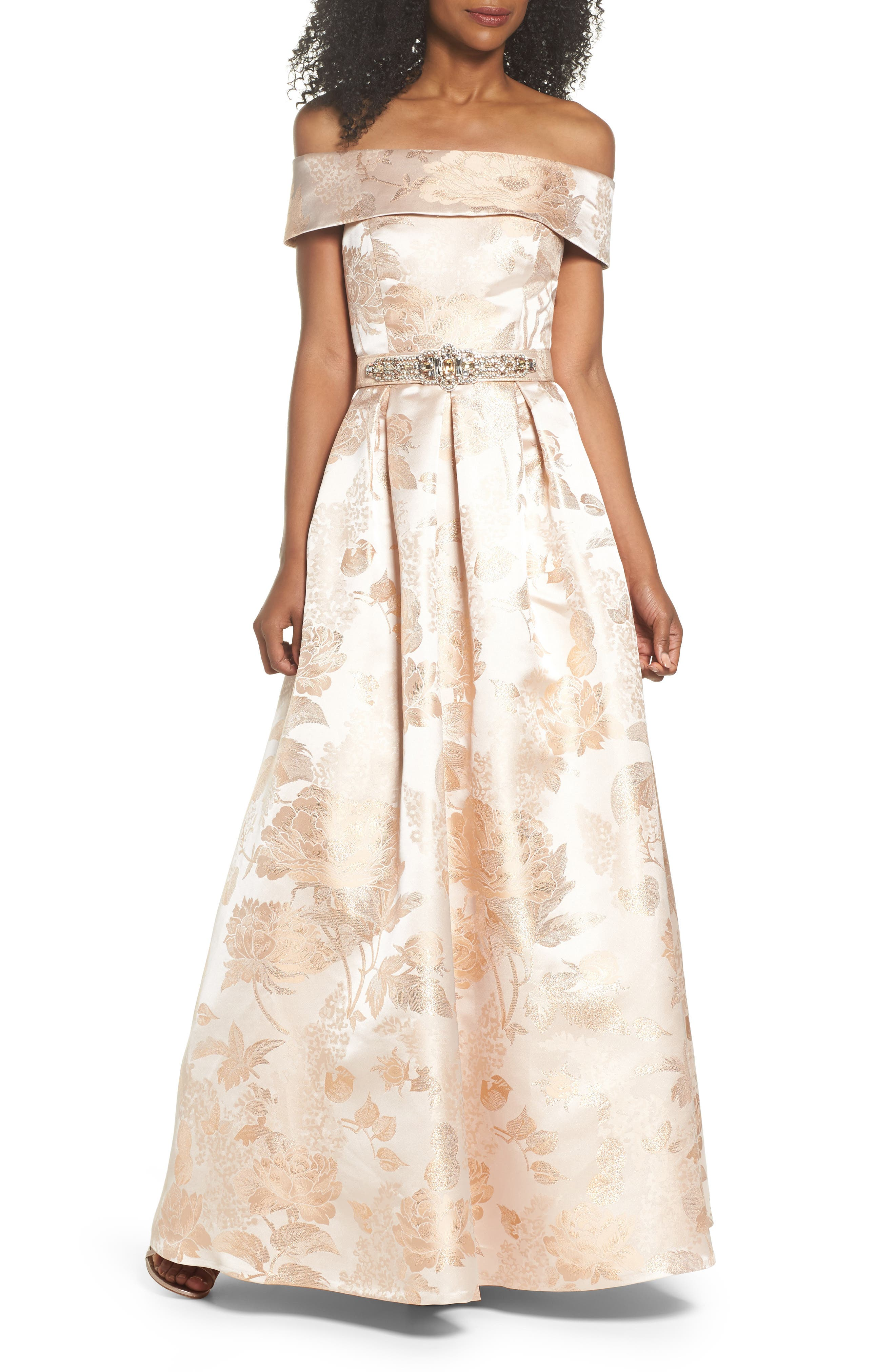 Belted Off the Shoulder Jacquard Ballgown,                         Main,                         color, Champagne