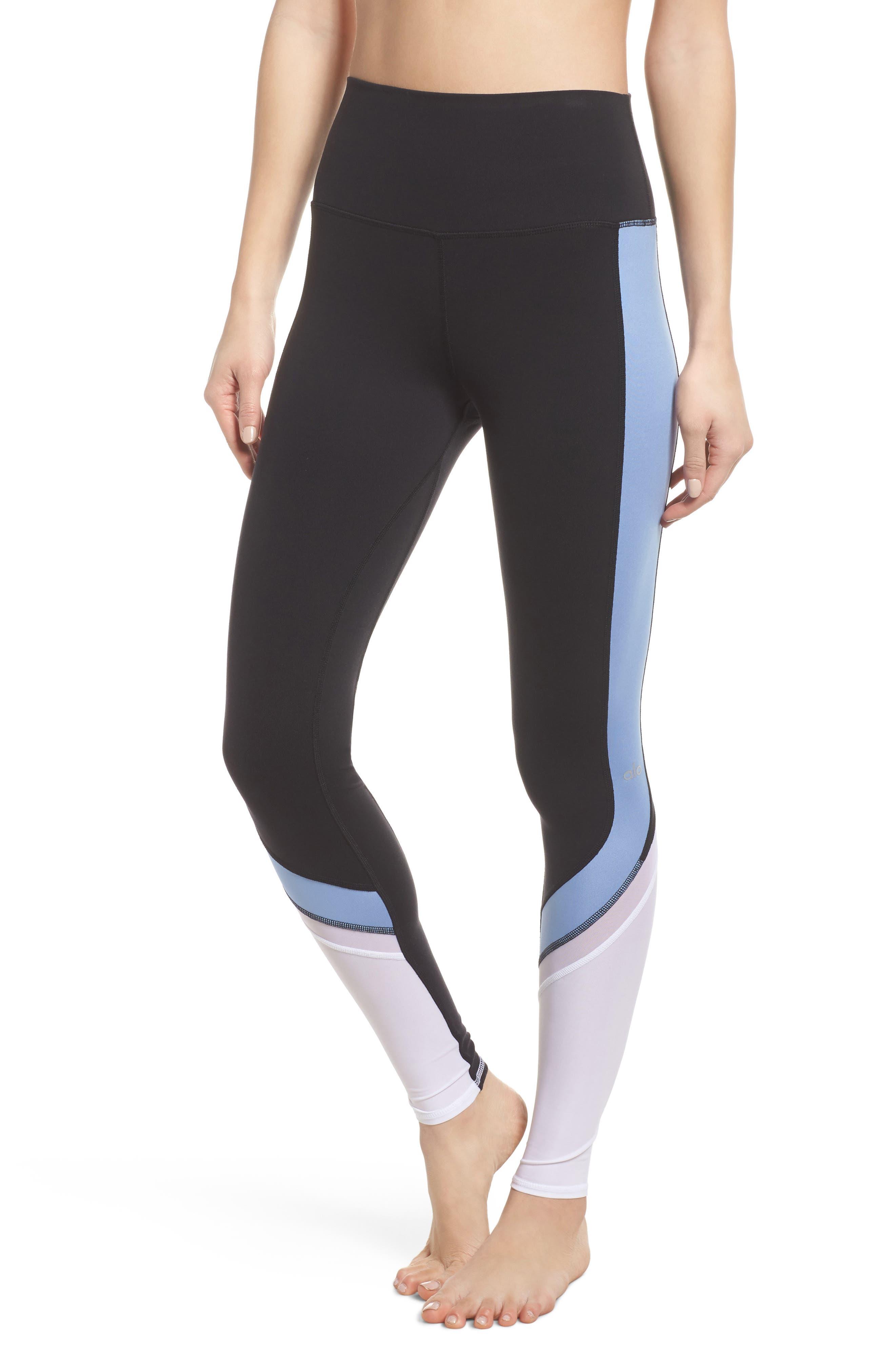 Elevate Leggings,                         Main,                         color, Black/ Uv Blue Glossy/ White