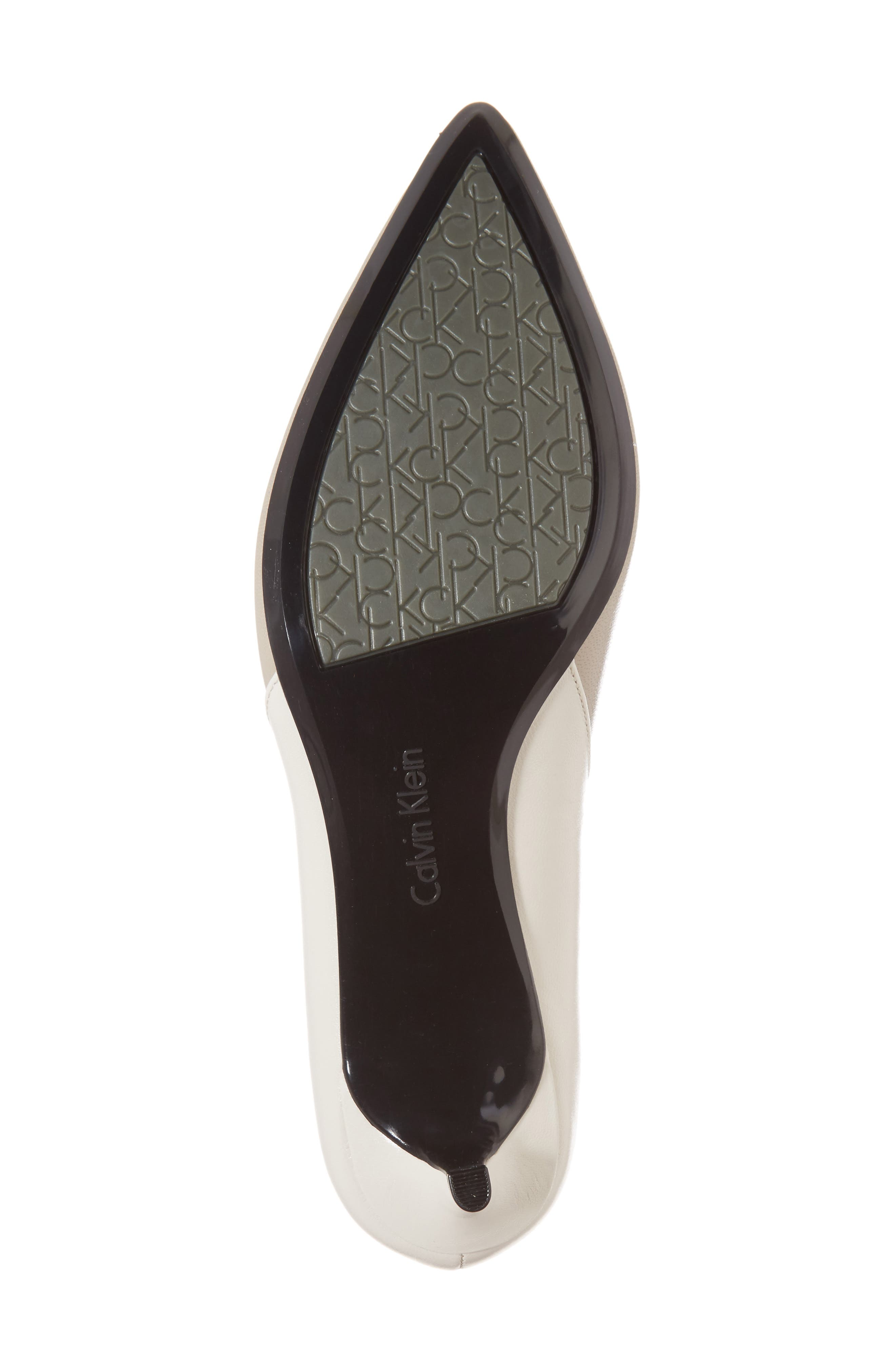 Grayce Pointy Toe Pump,                             Alternate thumbnail 6, color,                             Clay/ White Leather