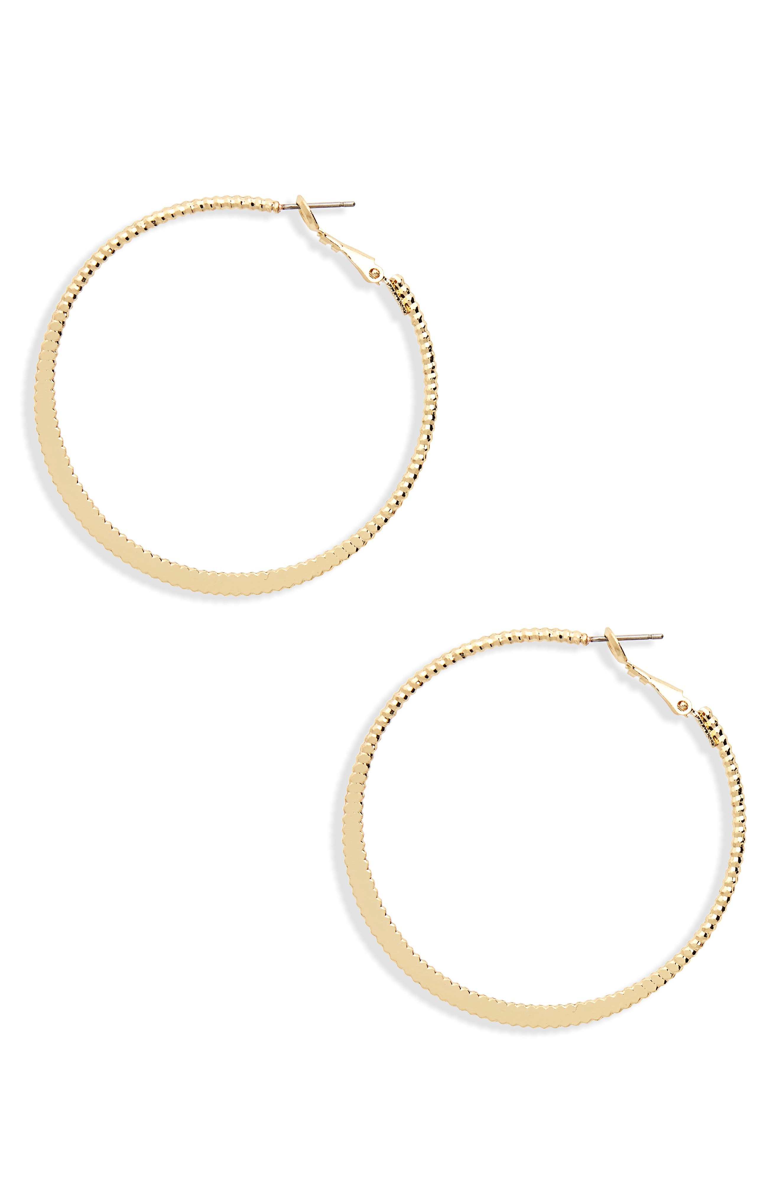 Textured Hoop Earrings,                             Main thumbnail 1, color,                             Gold