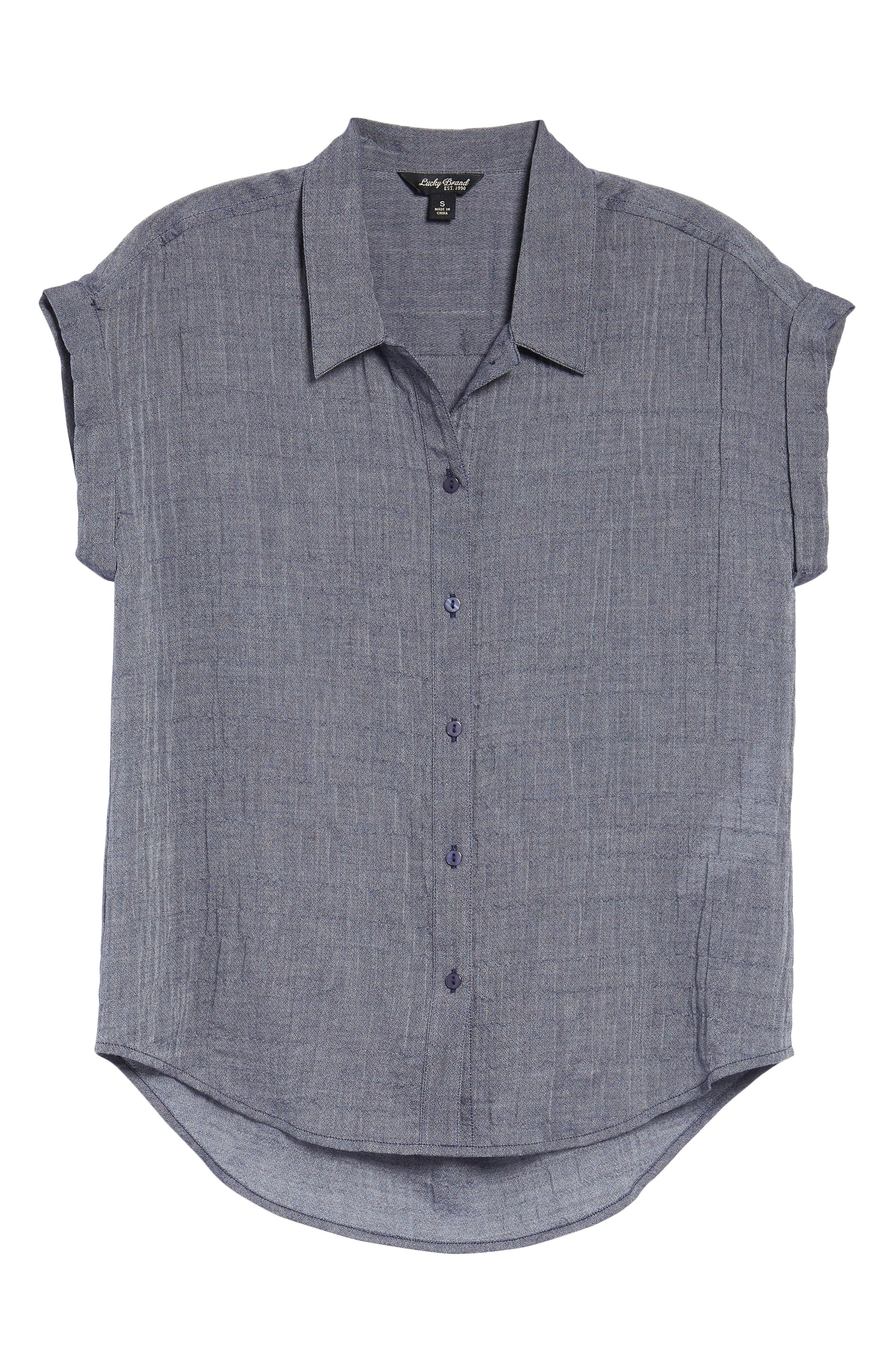 Solid Short Sleeve High/Low Top,                             Alternate thumbnail 6, color,                             Chambray