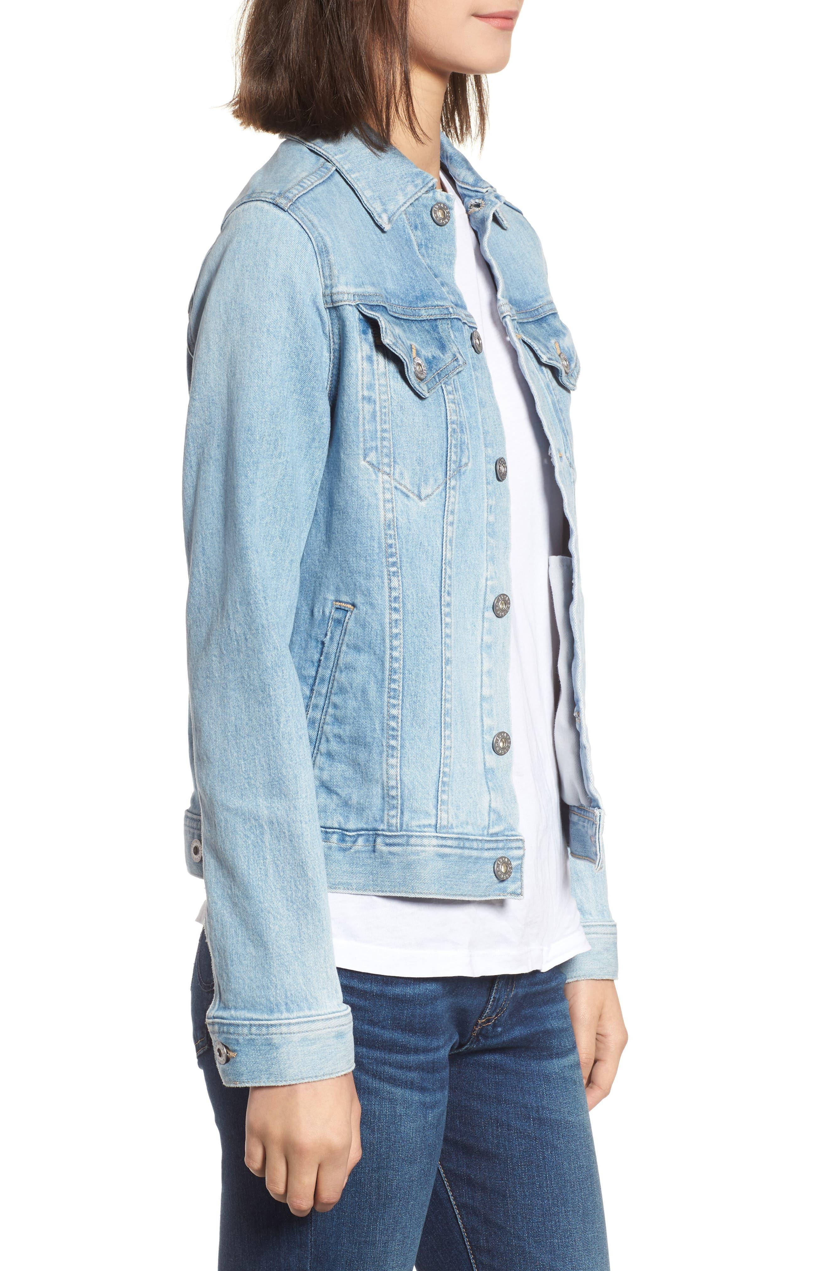 Mya Denim Jacket,                             Alternate thumbnail 3, color,                             Sunlight Blue