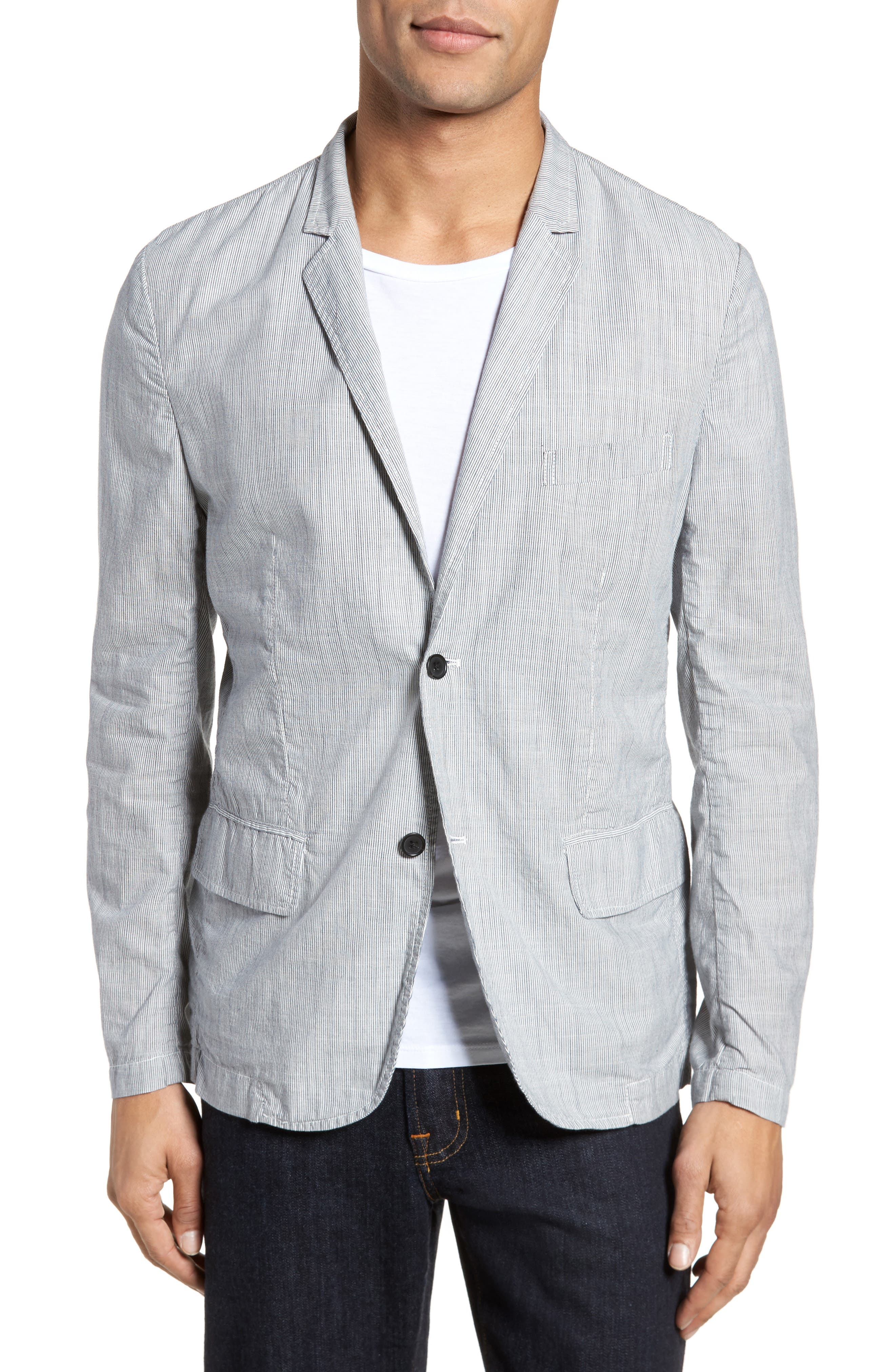 Stripe Cotton Blazer,                             Main thumbnail 1, color,                             True Gray