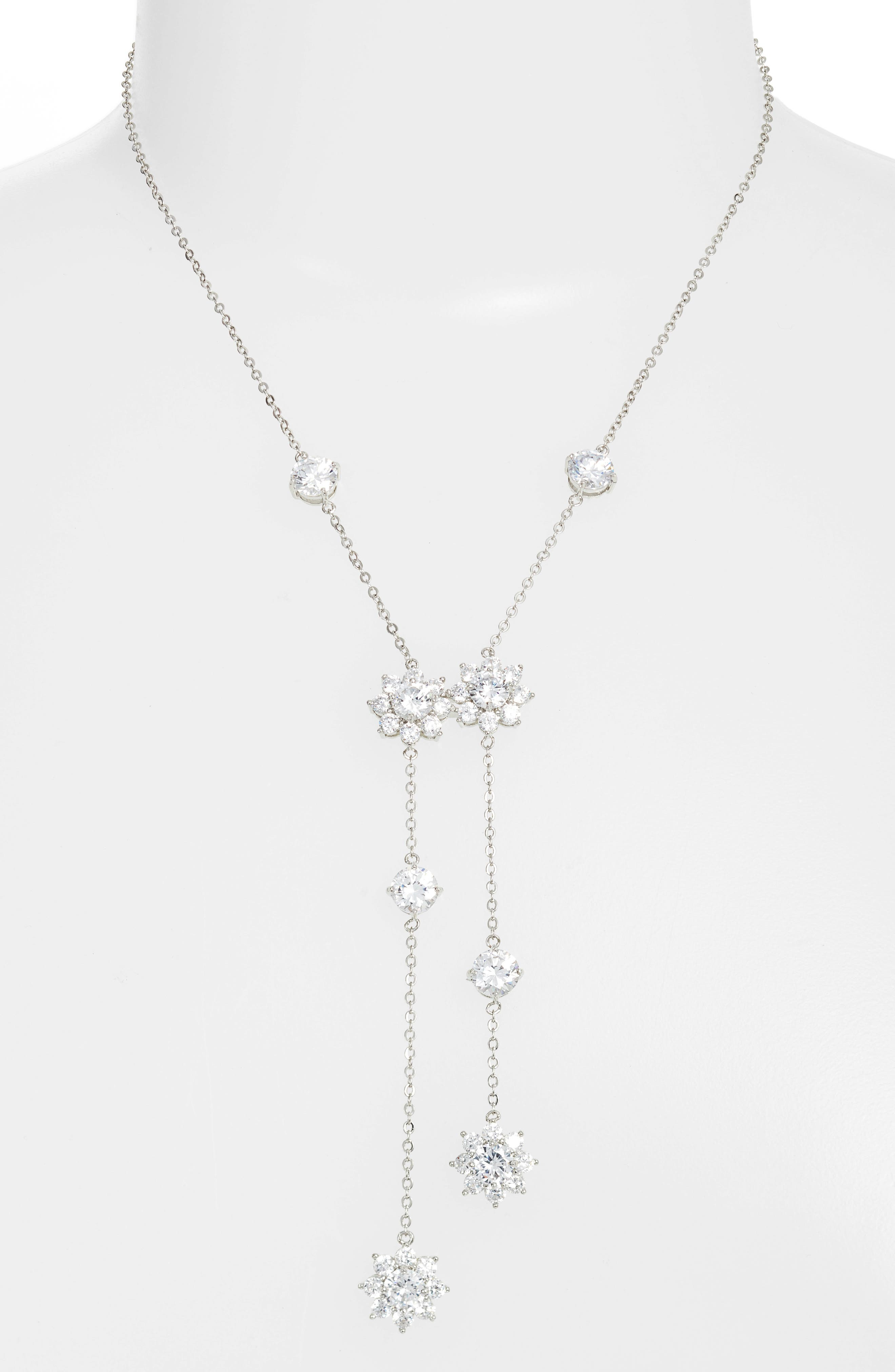 Small Flower Y Necklace,                         Main,                         color, Silver/ White Cz