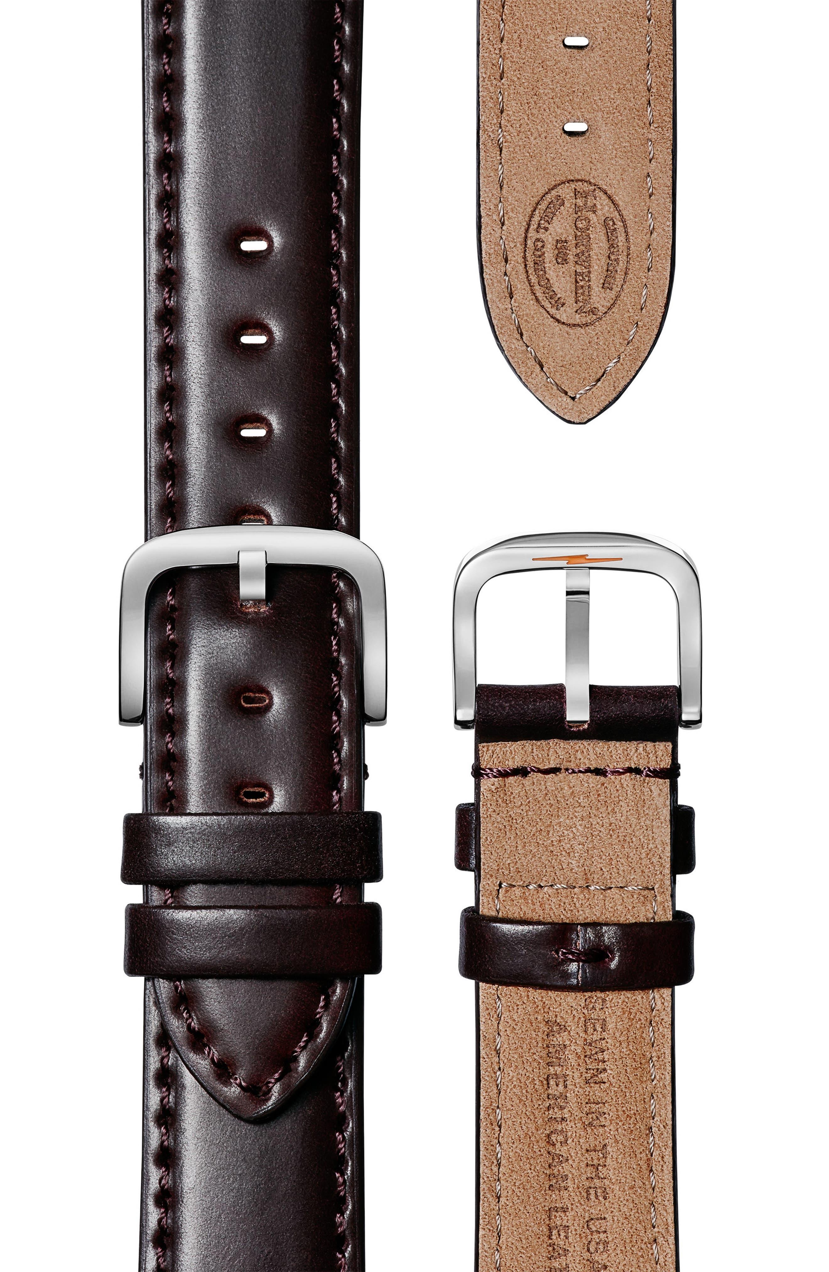 Alternate Image 3  - Shinola The Muldowney Rectangular Leather Strap Watch, 24mm x 32mm