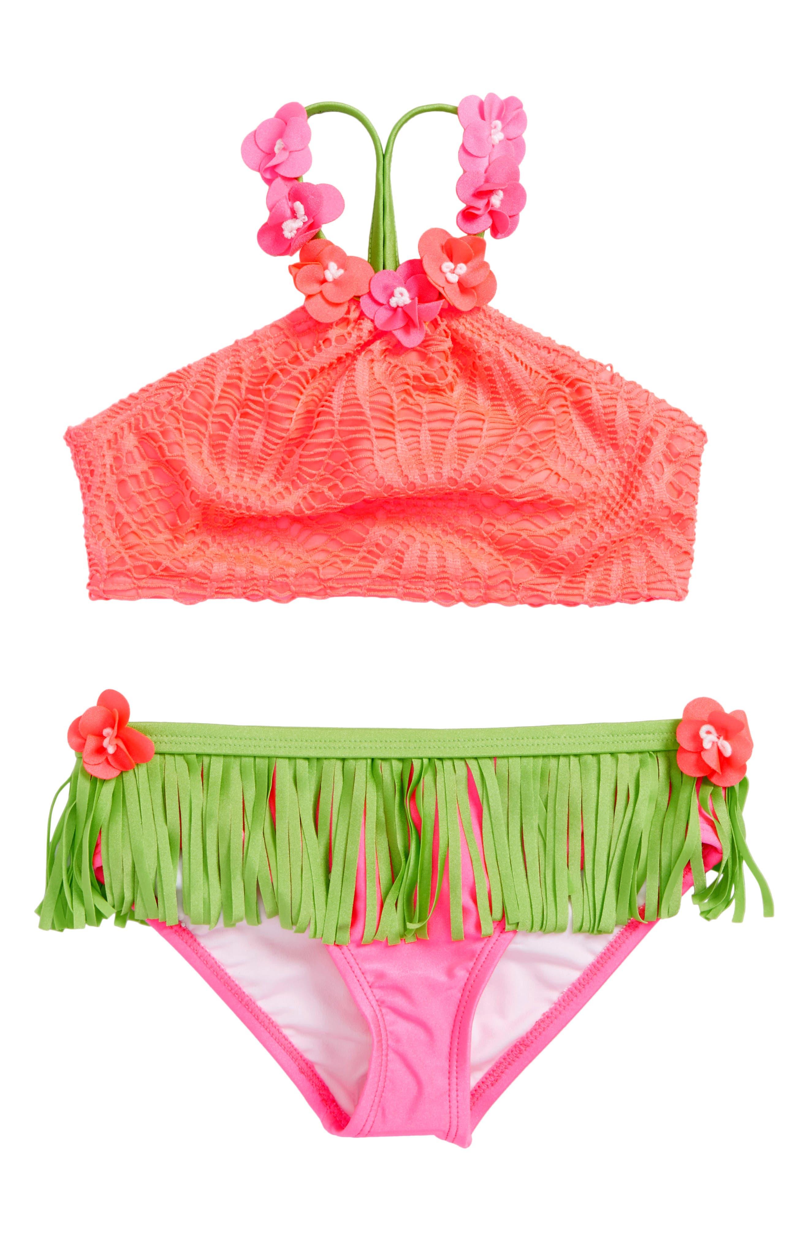 Hula Crochet Two-Piece Bikini Swimsuit,                             Main thumbnail 1, color,                             Coral Pink
