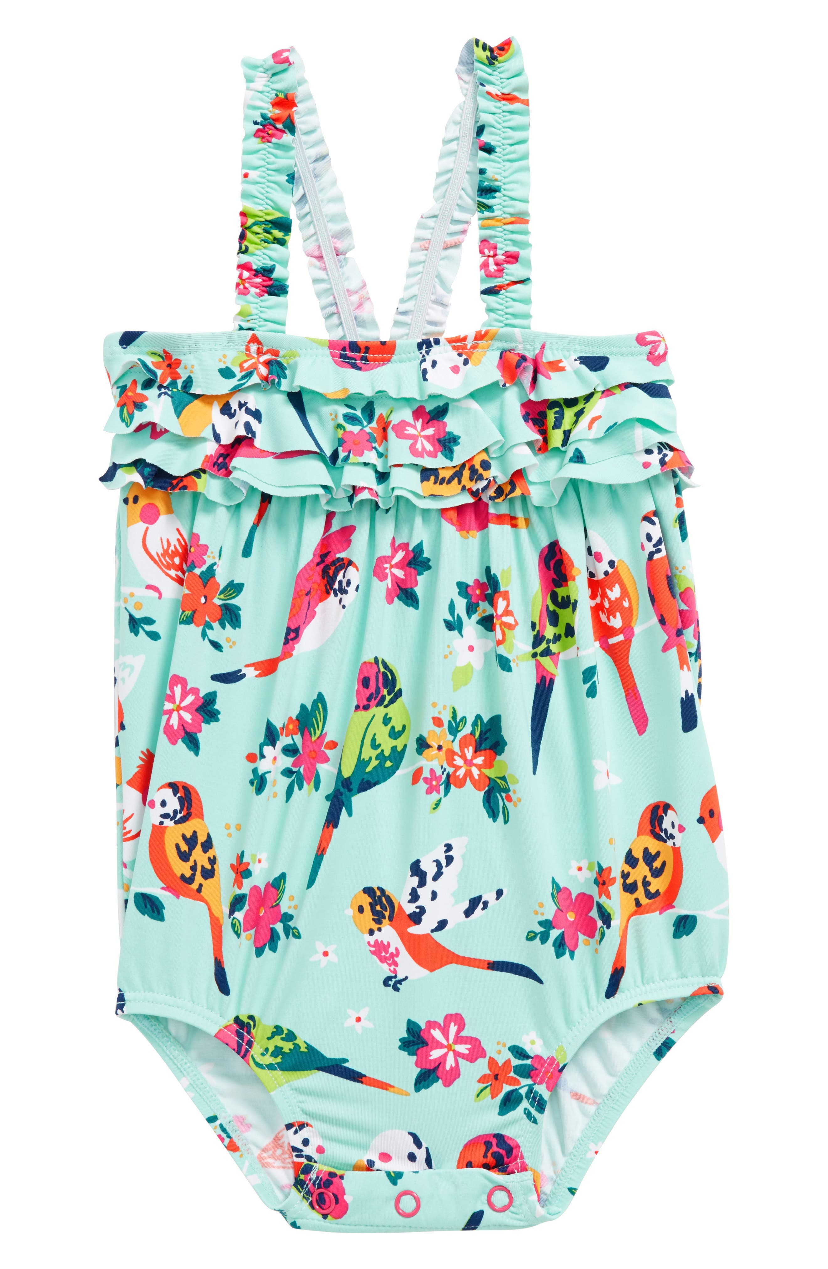 Mini Ruffle One-Piece Swimsuit,                         Main,                         color, Tropical Birds Baby