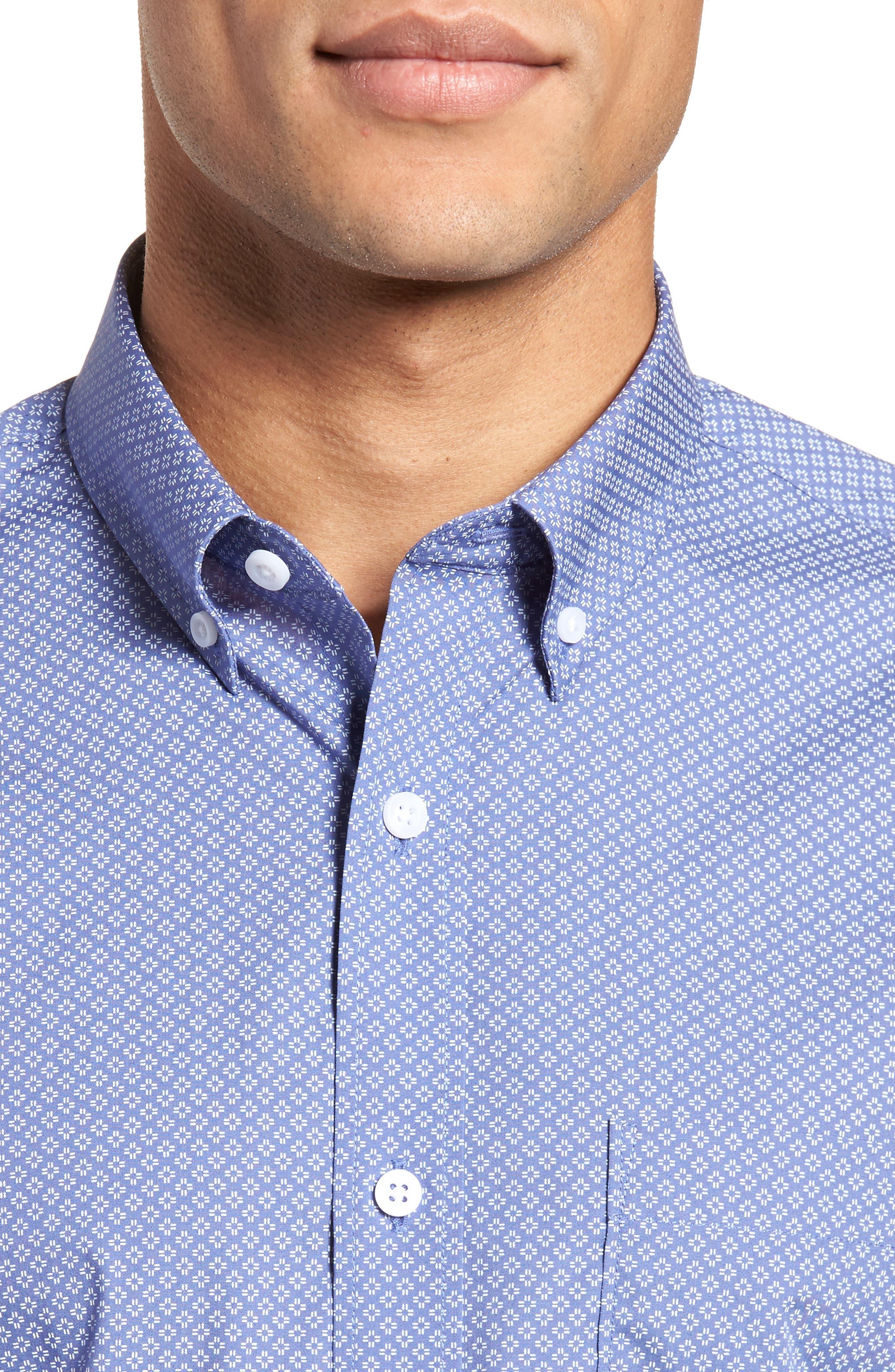 Non-Iron Print Sport Shirt,                             Alternate thumbnail 2, color,                             Blue White Micro Zia