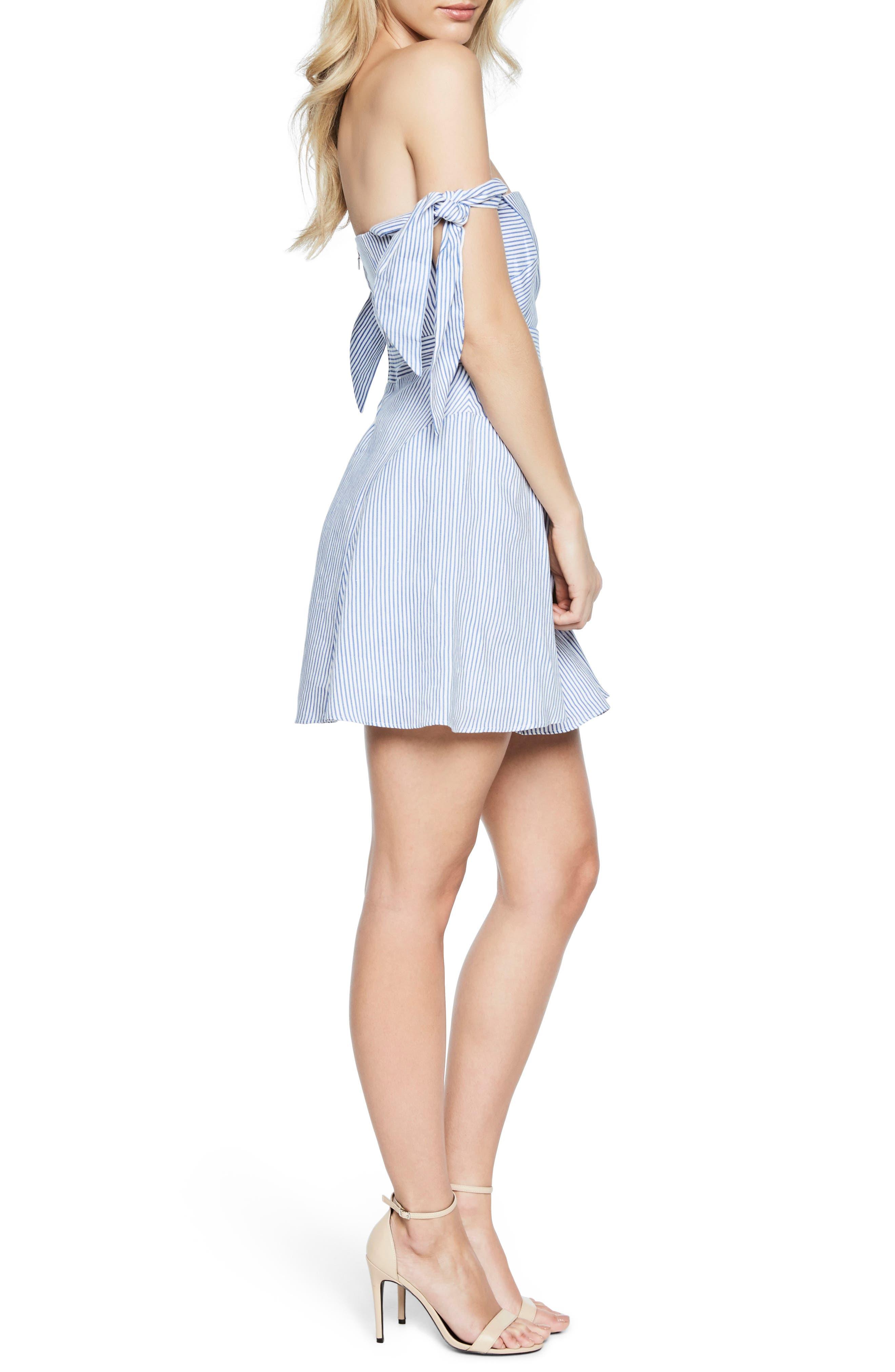 Stripe Off the Shoulder Linen Dress,                             Alternate thumbnail 4, color,                             Stripe