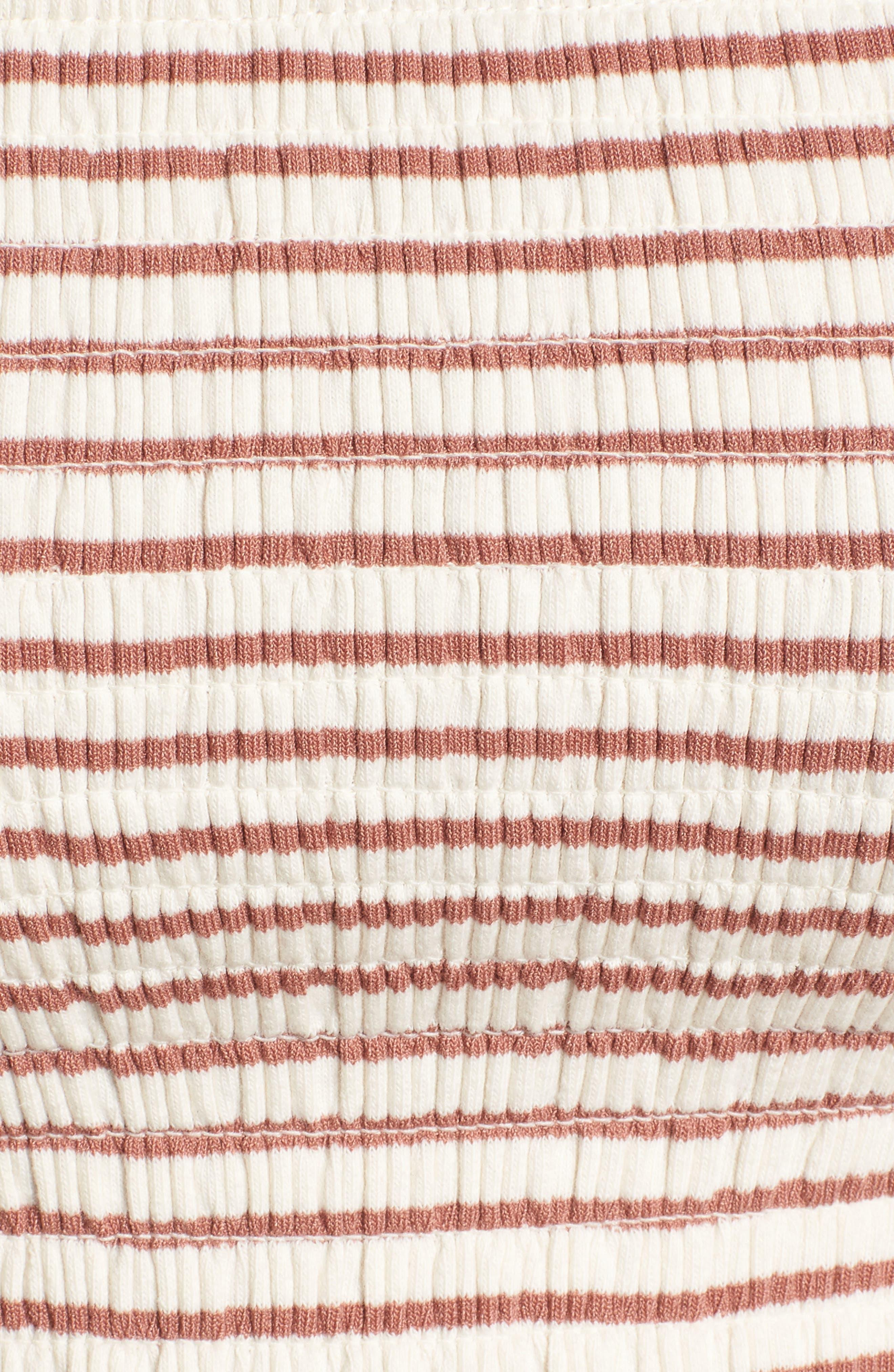 Off the Shoulder Stripe Peplum Top,                             Alternate thumbnail 7, color,                             Rose/ Ivory Stripe