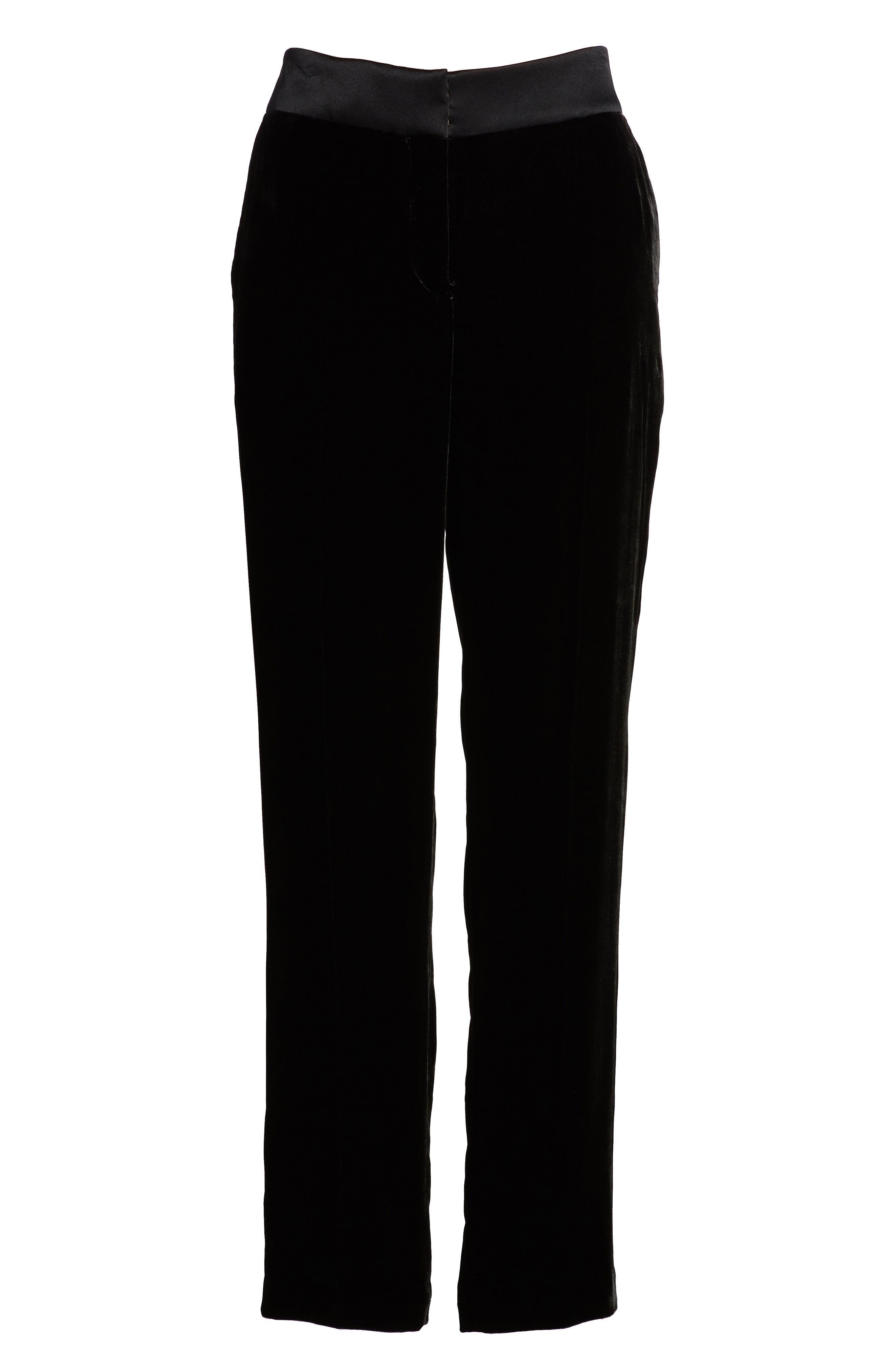 Tolesa Straight Leg Velvet Pants,                             Alternate thumbnail 6, color,                             Black