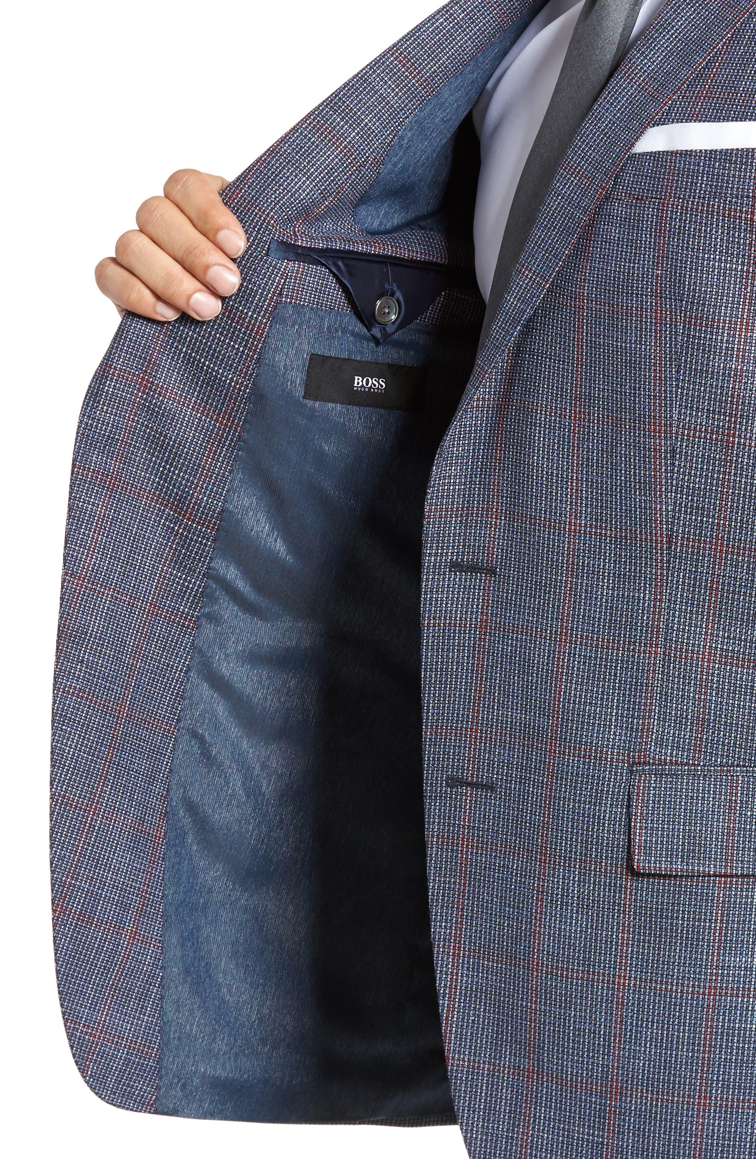 Hutsons Trim Fit Stretch Windowpane Wool Blend Sport Coat,                             Alternate thumbnail 4, color,                             Open Blue