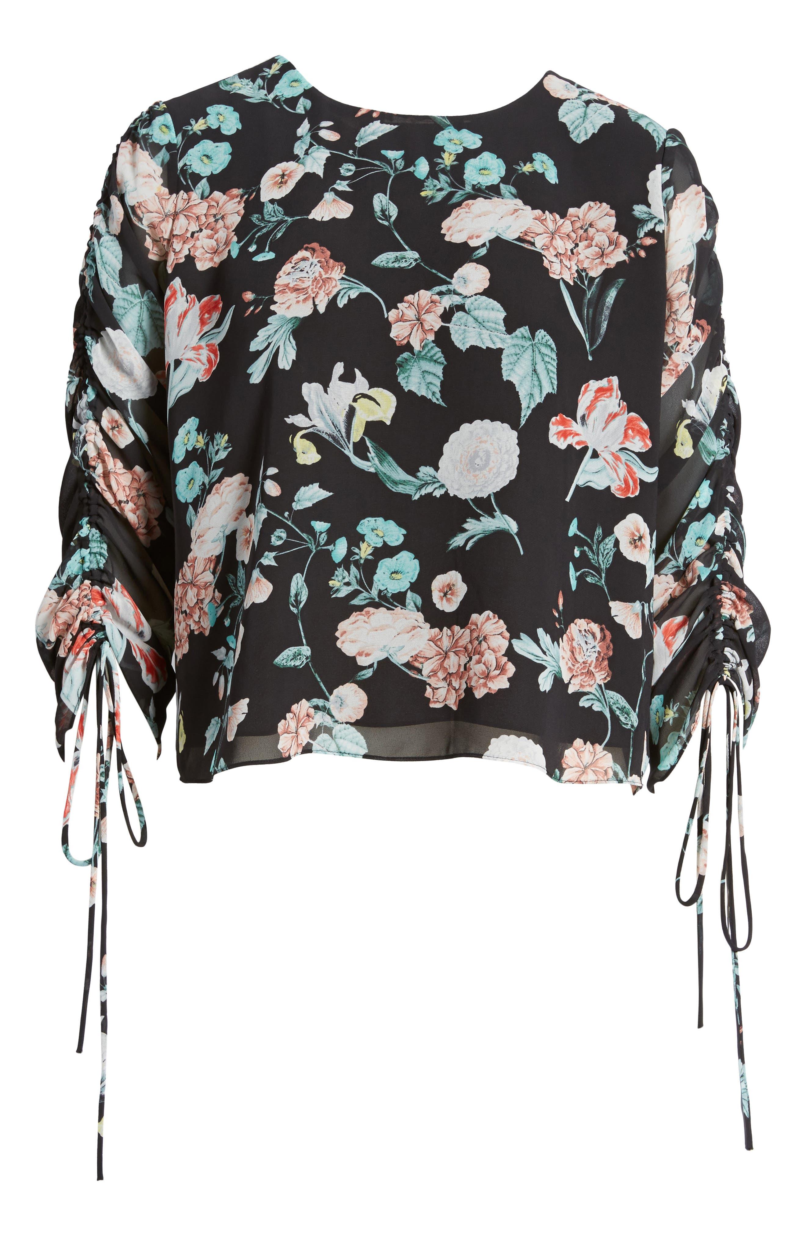 Floral Gardens Drawstring Sleeve Blouse,                             Alternate thumbnail 3, color,                             Rich Black