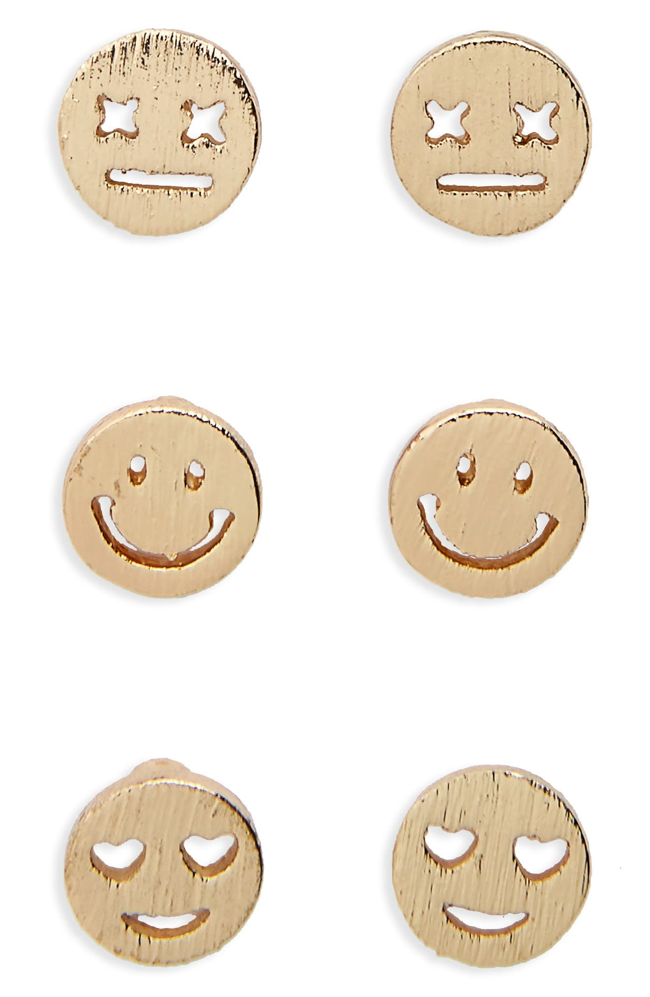 Trio 3-Pack Stud Earrings,                             Main thumbnail 1, color,                             Gold