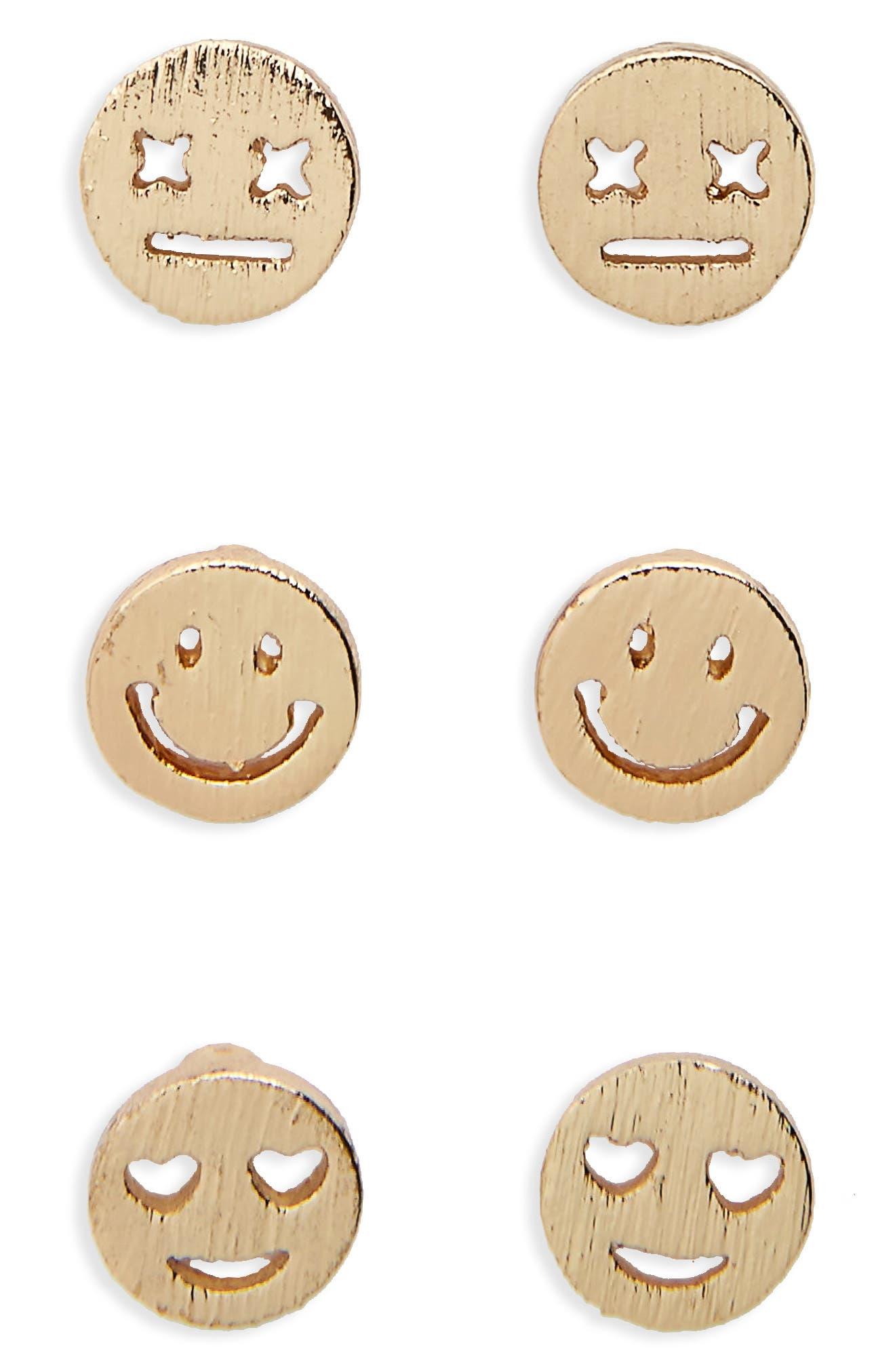 Alternate Image 1 Selected - Loren Olivia Trio 3-Pack Stud Earrings