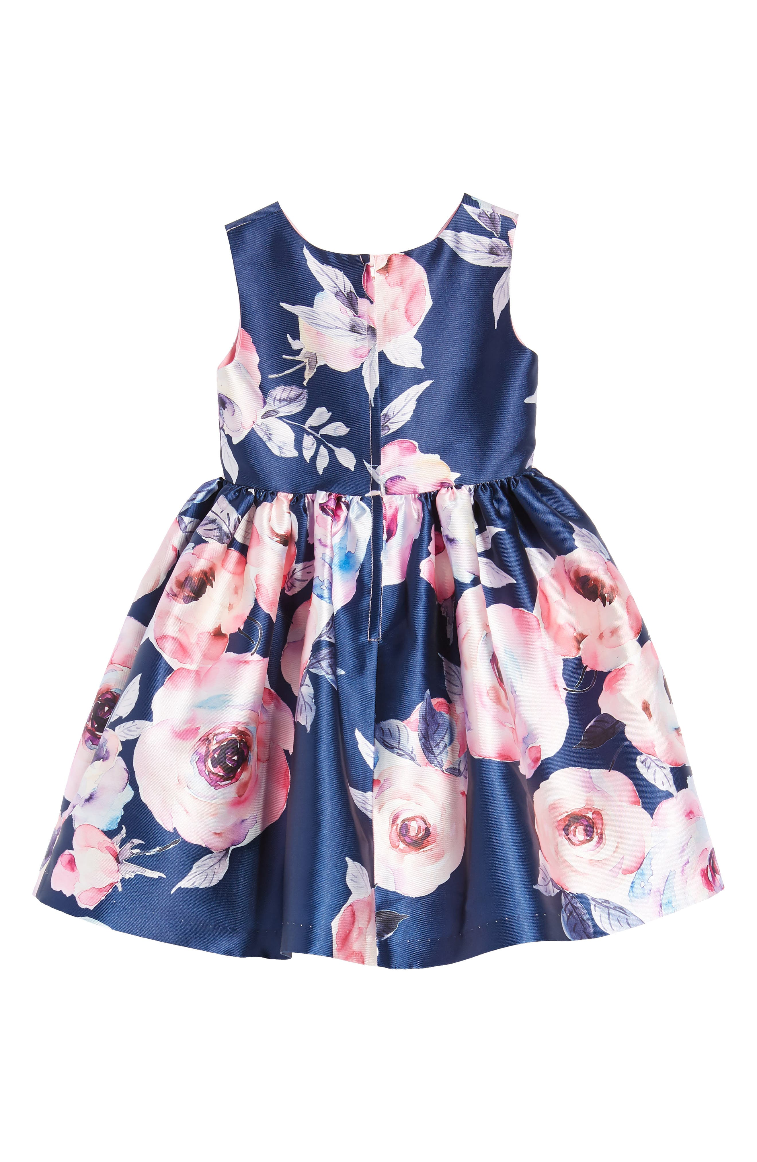 Floral Party Dress,                             Alternate thumbnail 3, color,                             Navy/ Pink