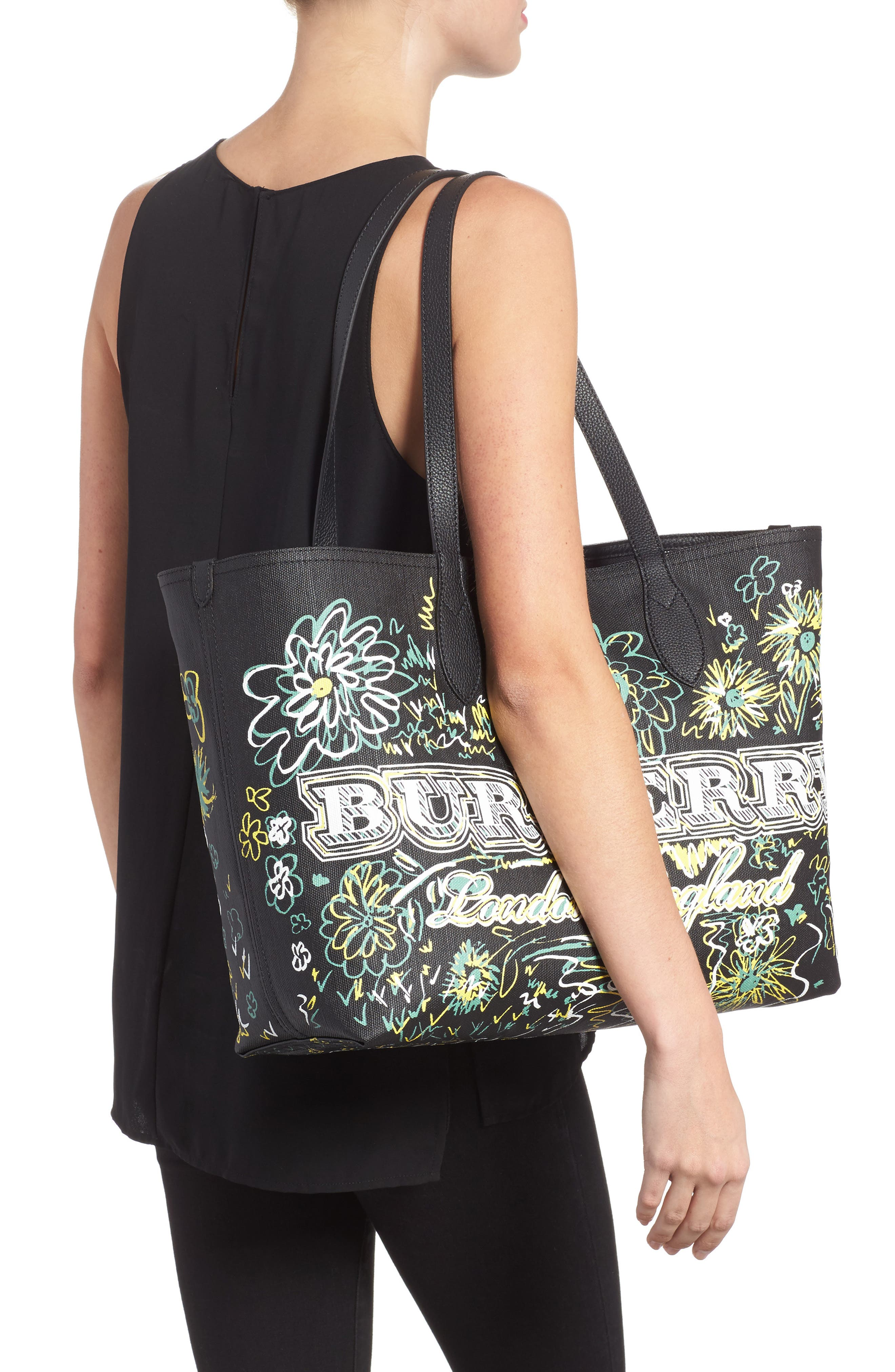 Alternate Image 2  - Burberry Doodletote/Check Reversible Canvas Tote
