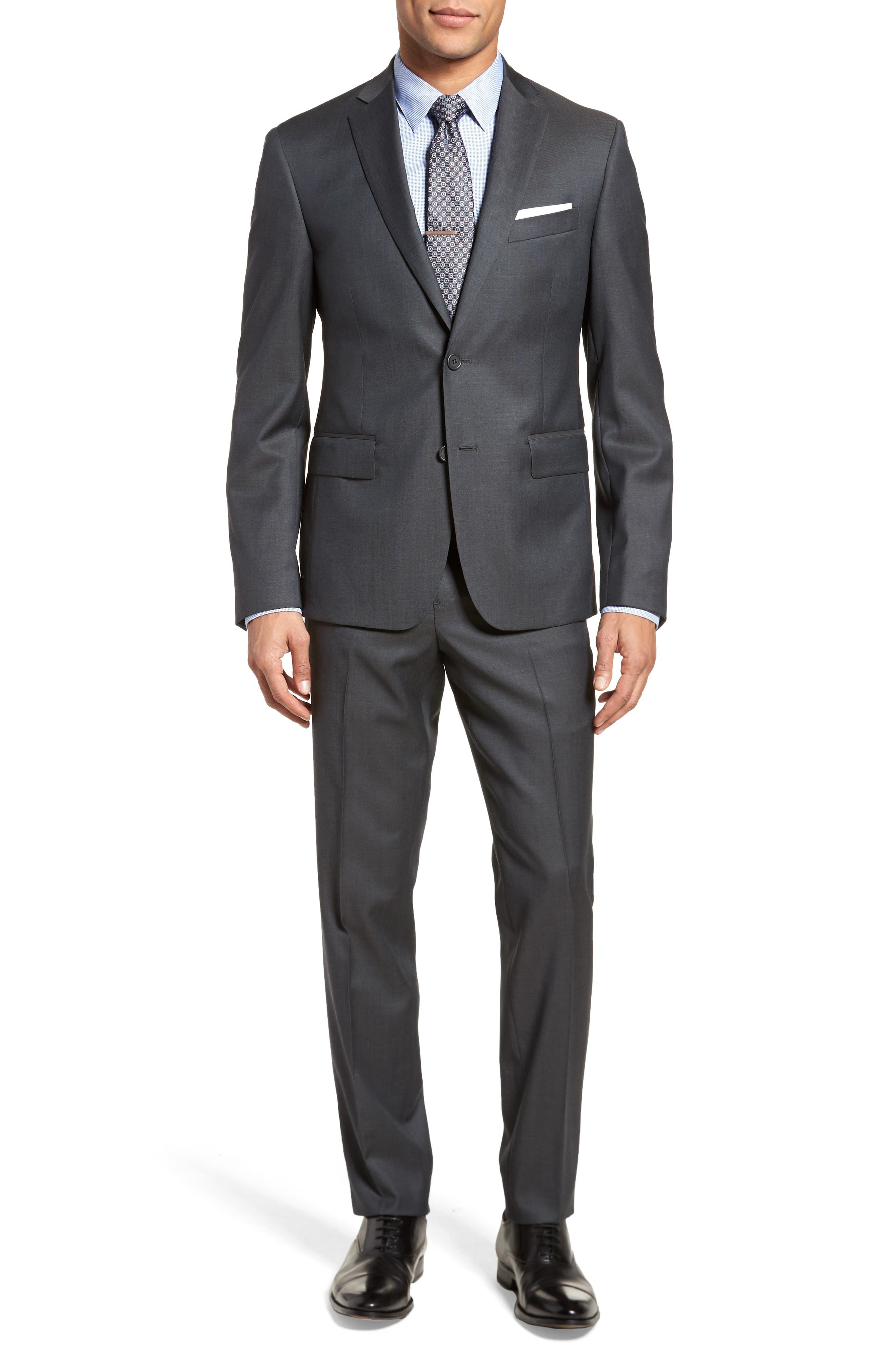 Extra Trim Fit Solid Wool Suit,                         Main,                         color, Charcoal