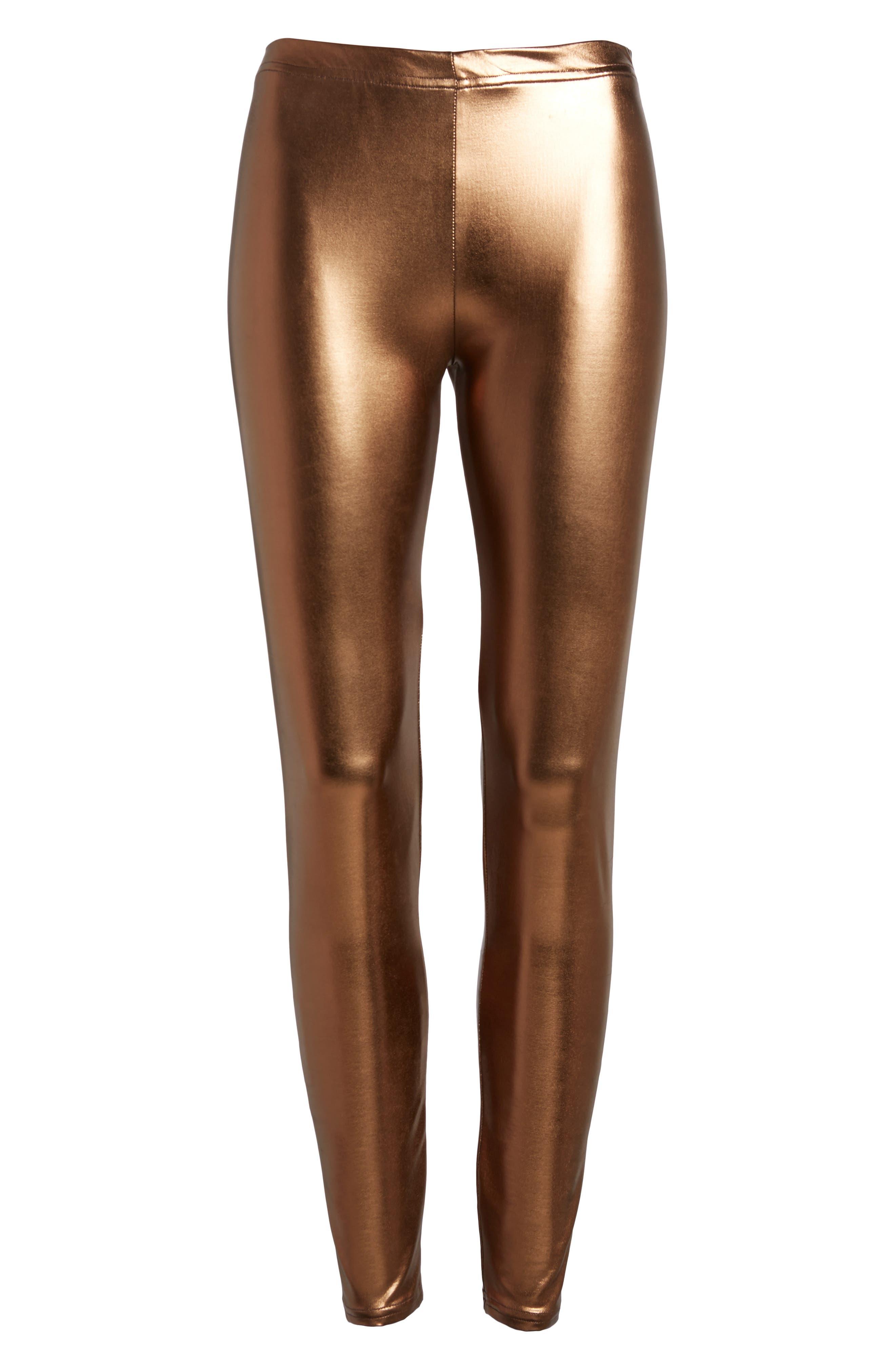 Metallic Leggings,                             Alternate thumbnail 4, color,                             Bronze