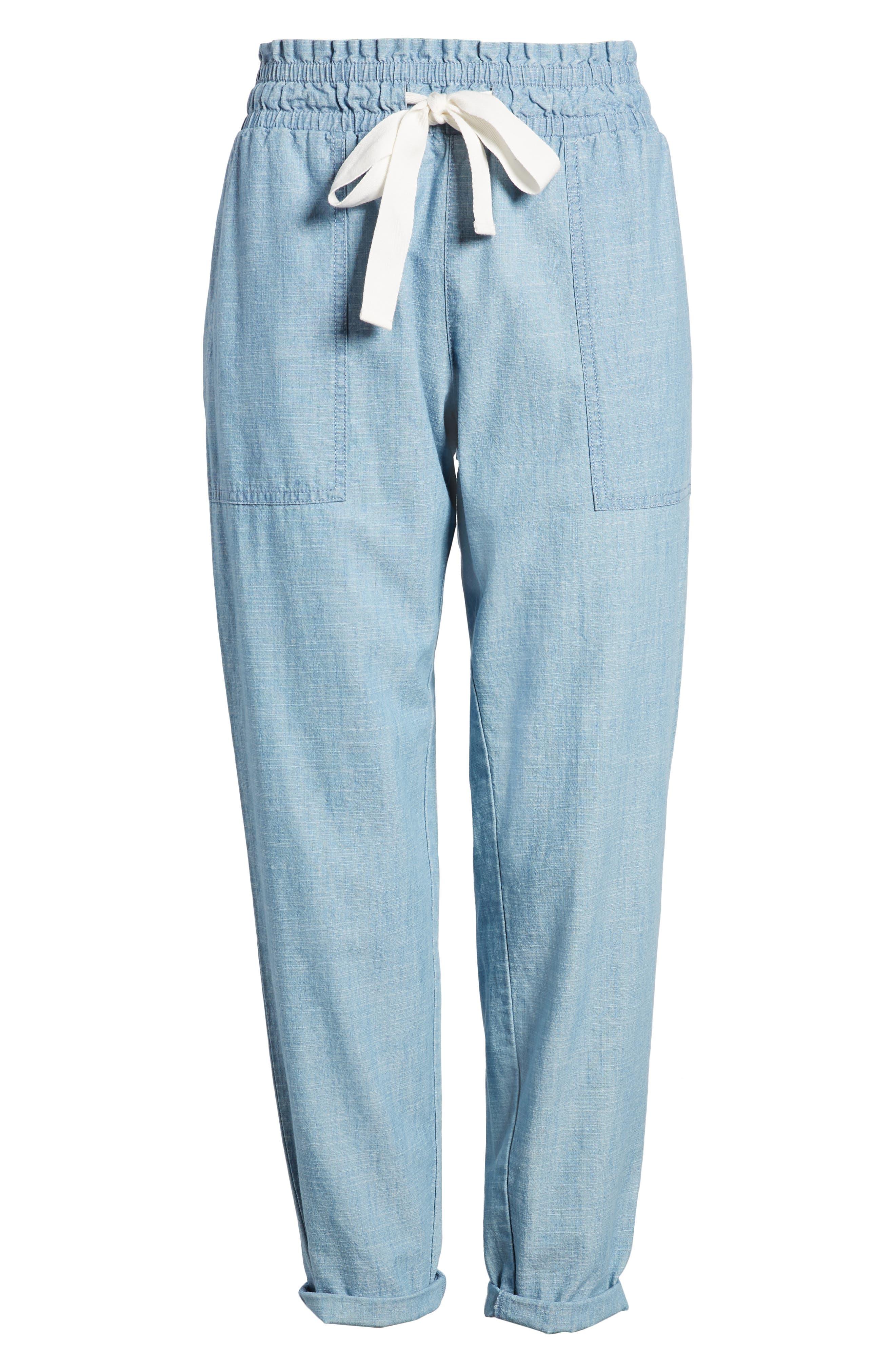 Drawstring Cotton Pants,                             Alternate thumbnail 7, color,                             Ice Lagoon