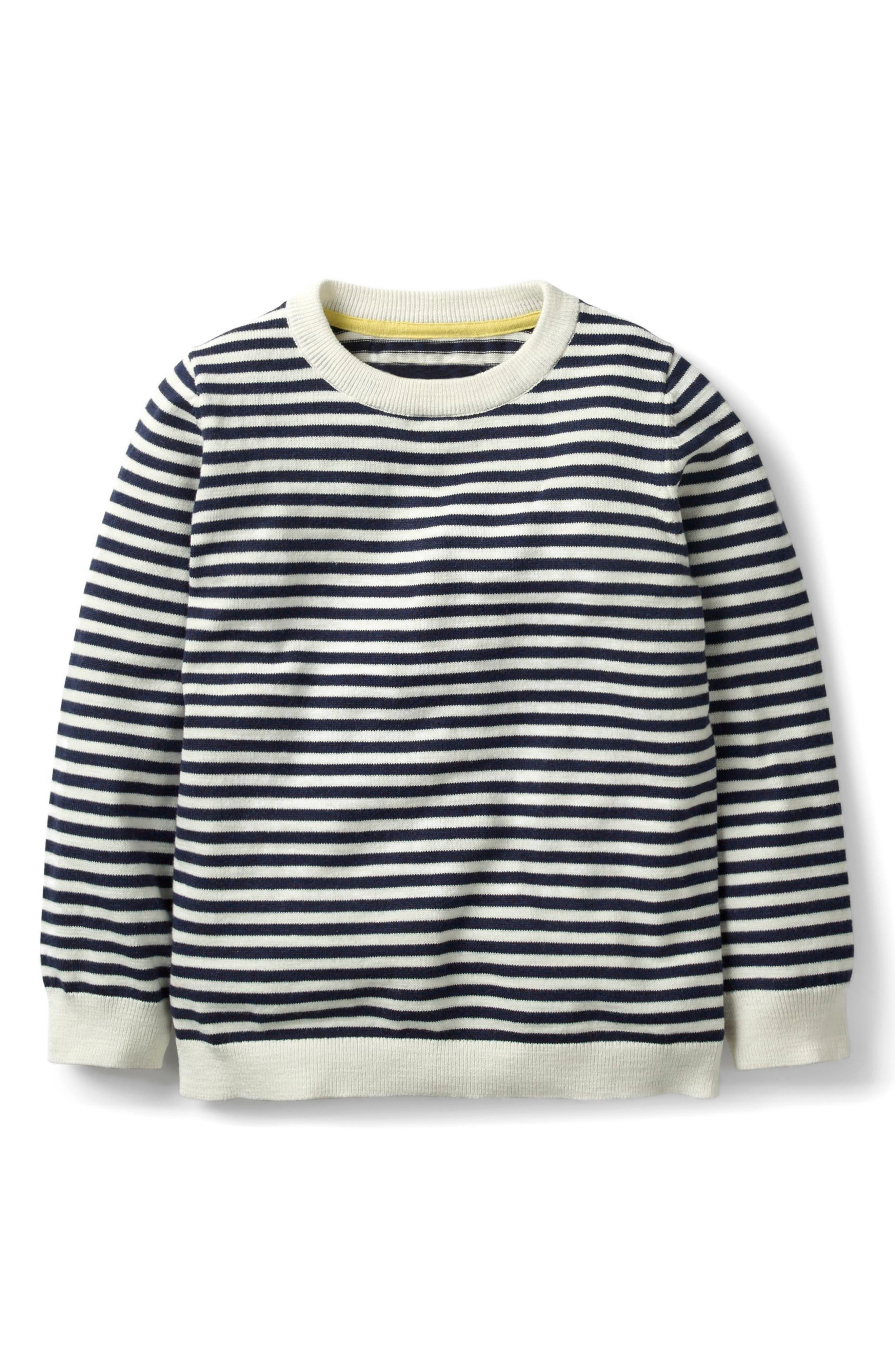 Cotton & Cashmere Sweater,                             Main thumbnail 1, color,                             School Navy/ Ivory