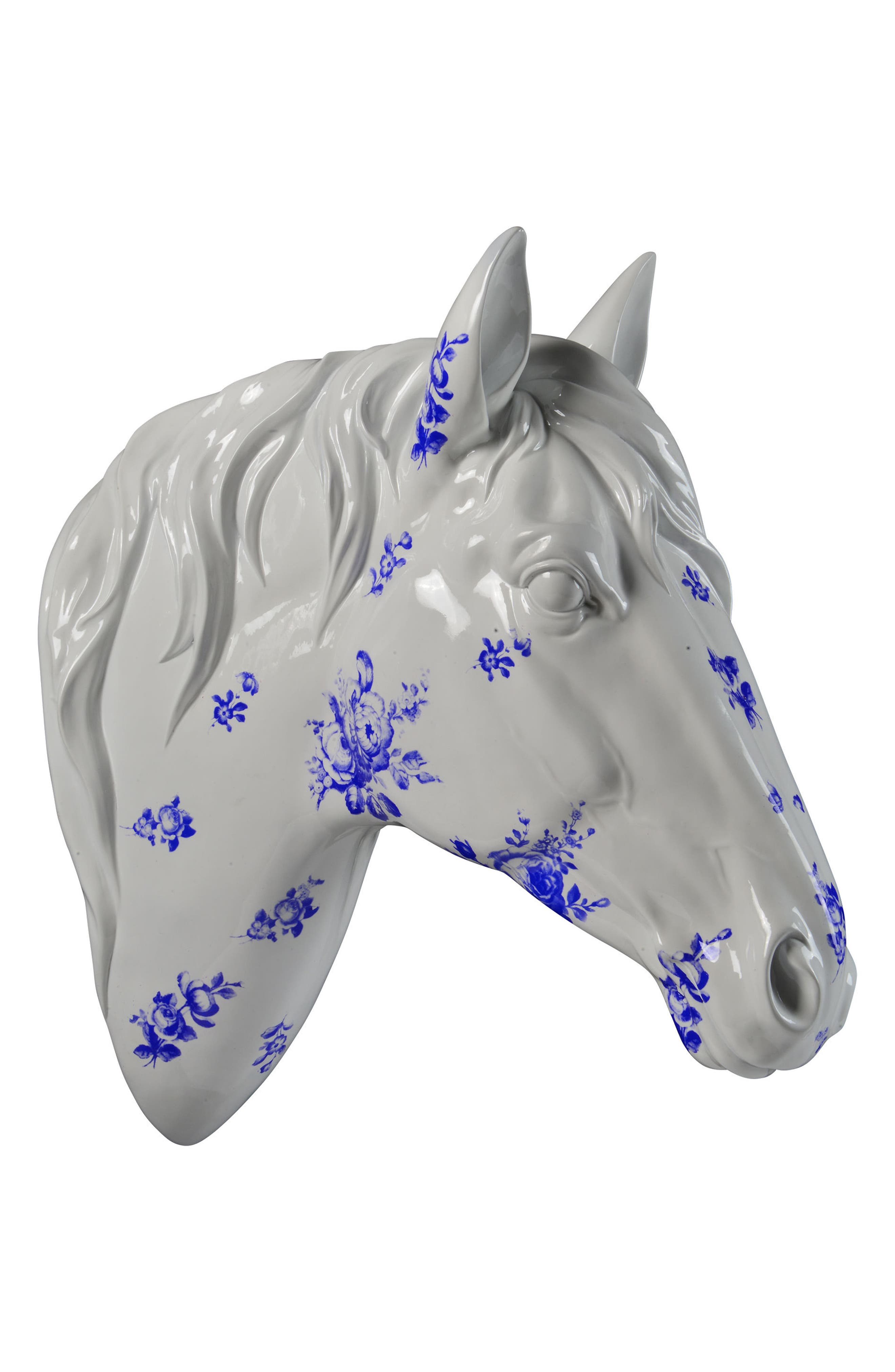 Horse Bust,                             Alternate thumbnail 2, color,                             White And Blue