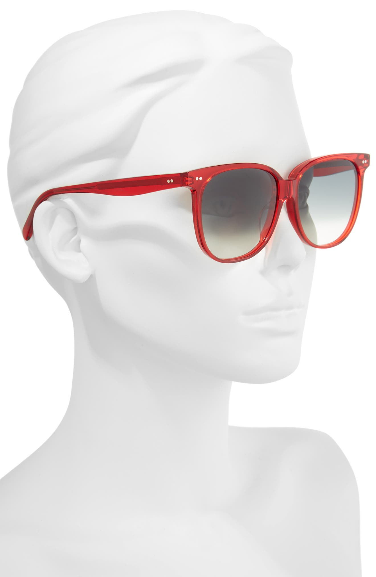 Special Fit 58mm Square Sunglasses,                             Alternate thumbnail 2, color,                             Red/ Green