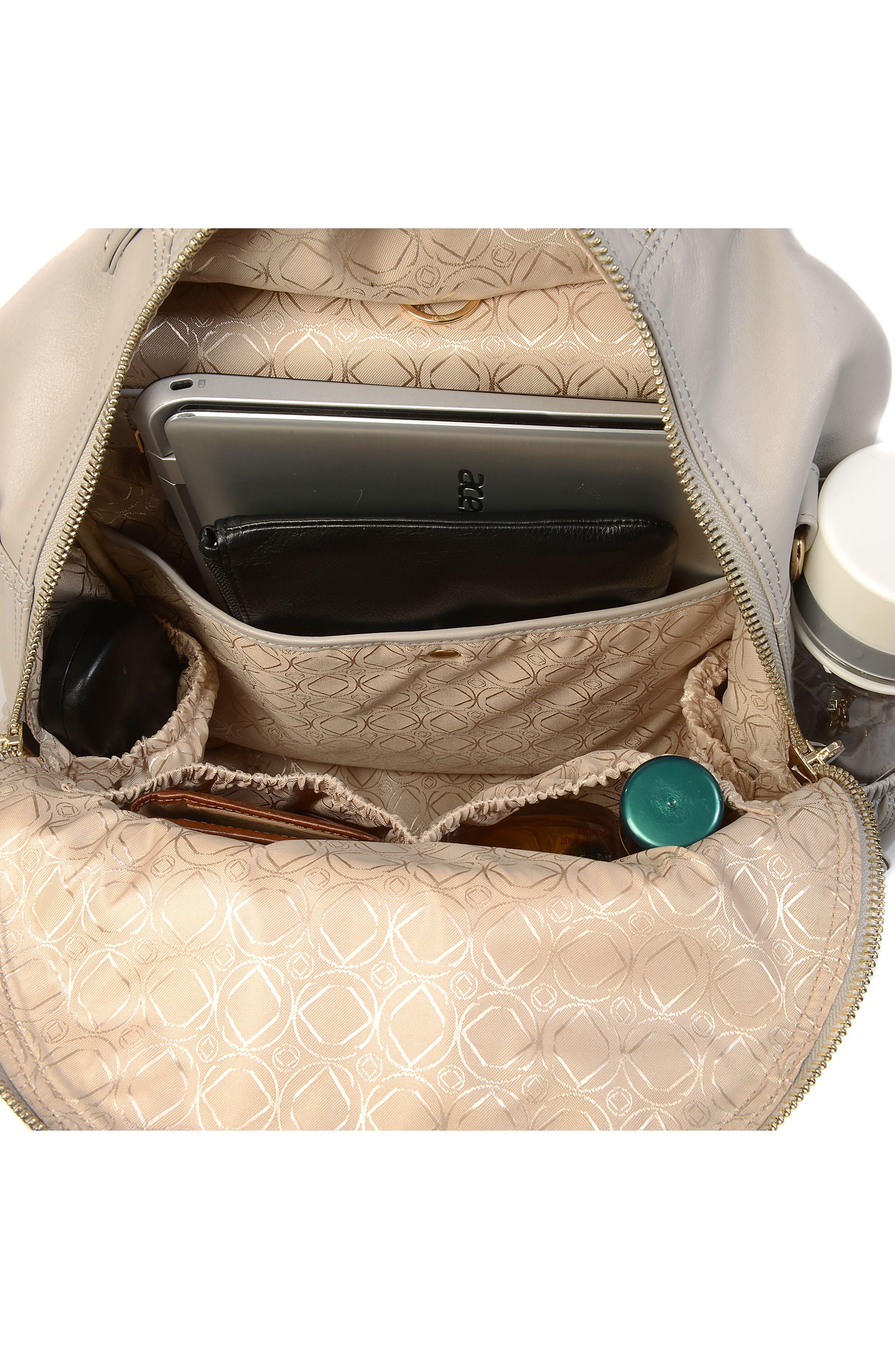 Joy XL Leather Backpack,                             Alternate thumbnail 10, color,                             Ice Grey