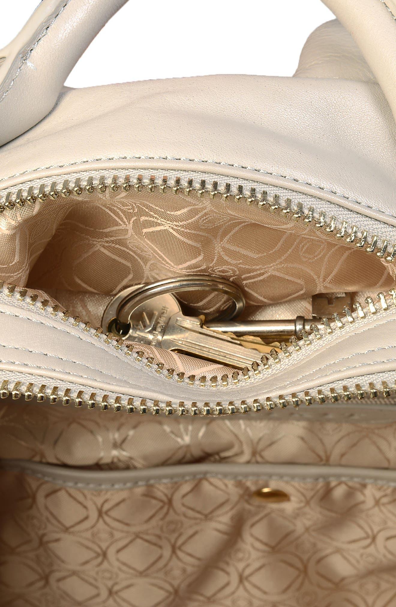 Joy XL Leather Backpack,                             Alternate thumbnail 12, color,                             Ice Grey