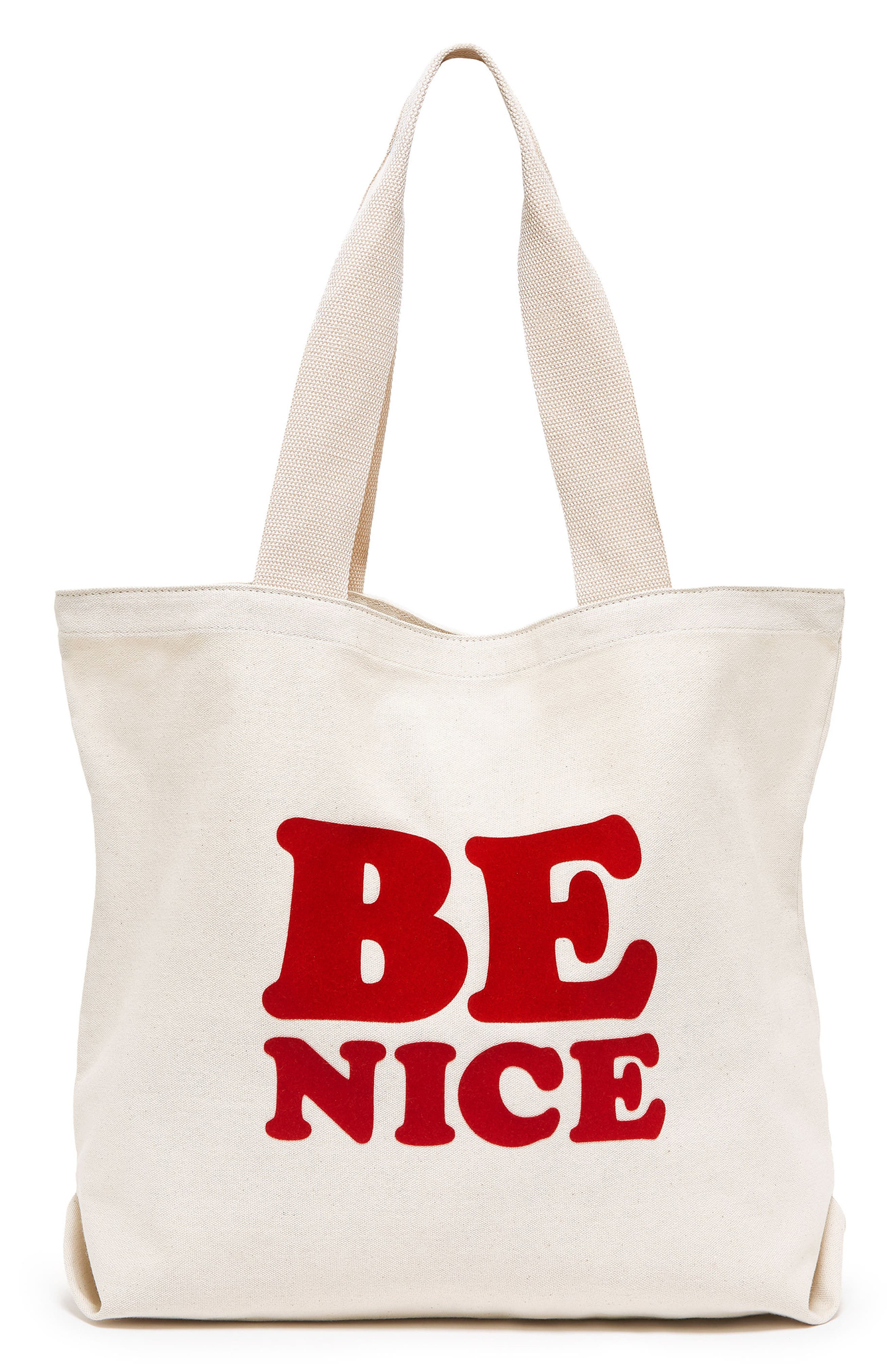 Be Nice Canvas Tote,                         Main,                         color, Cream