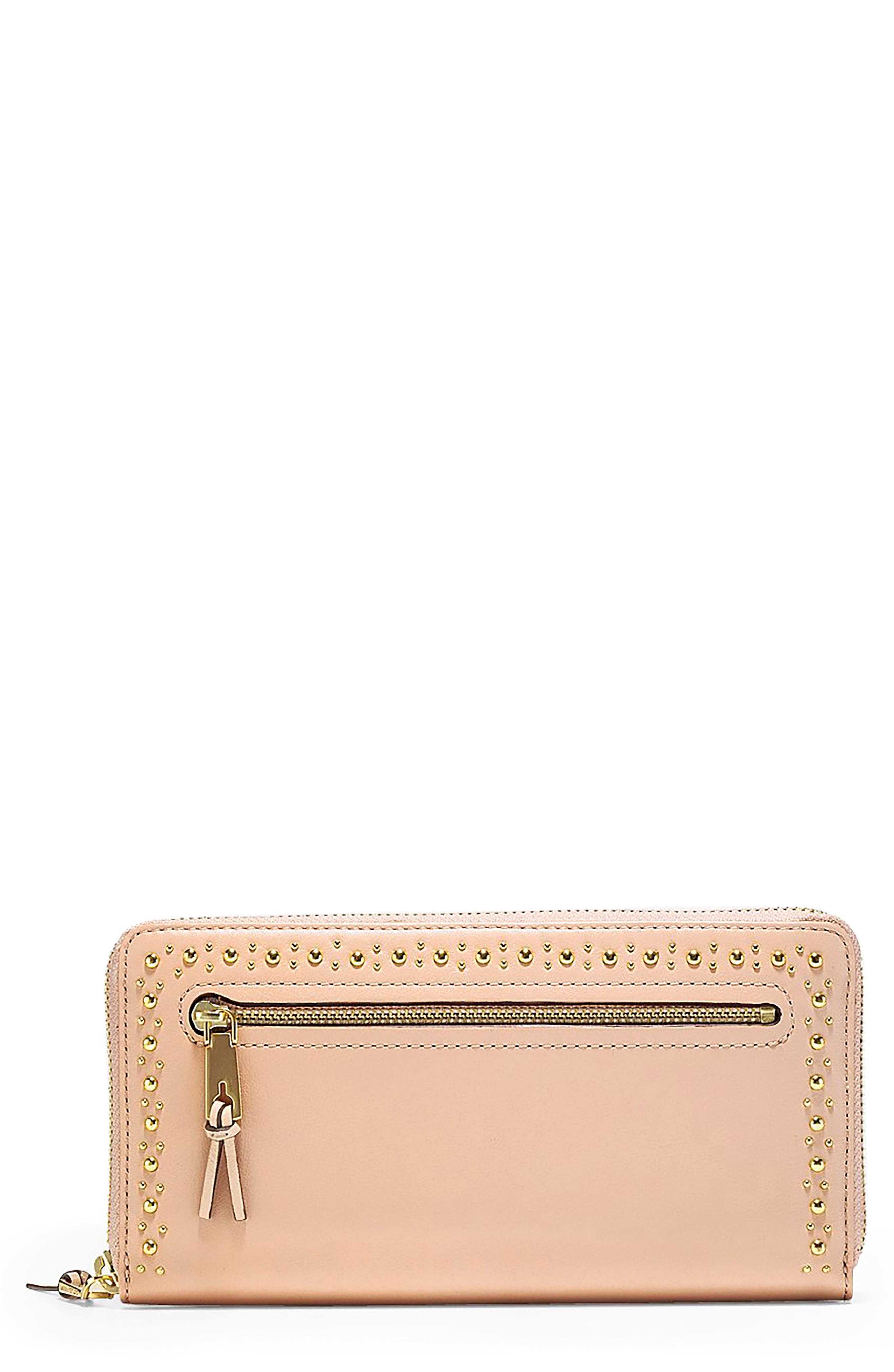 Marli Studded Metallic Leather Continental Wallet,                         Main,                         color, Pink Nude