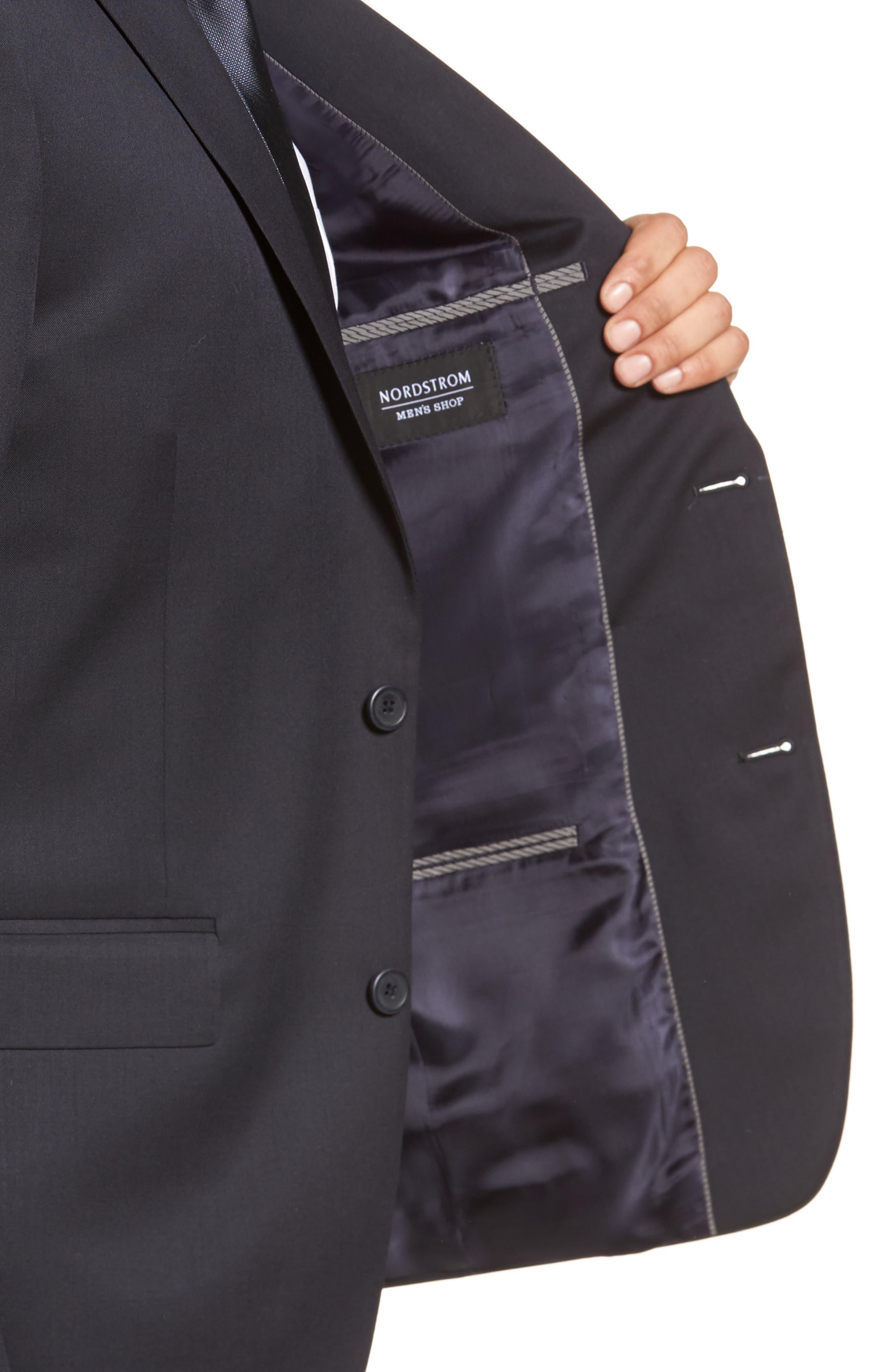 Trim Fit Solid Wool Suit,                             Alternate thumbnail 4, color,                             Navy