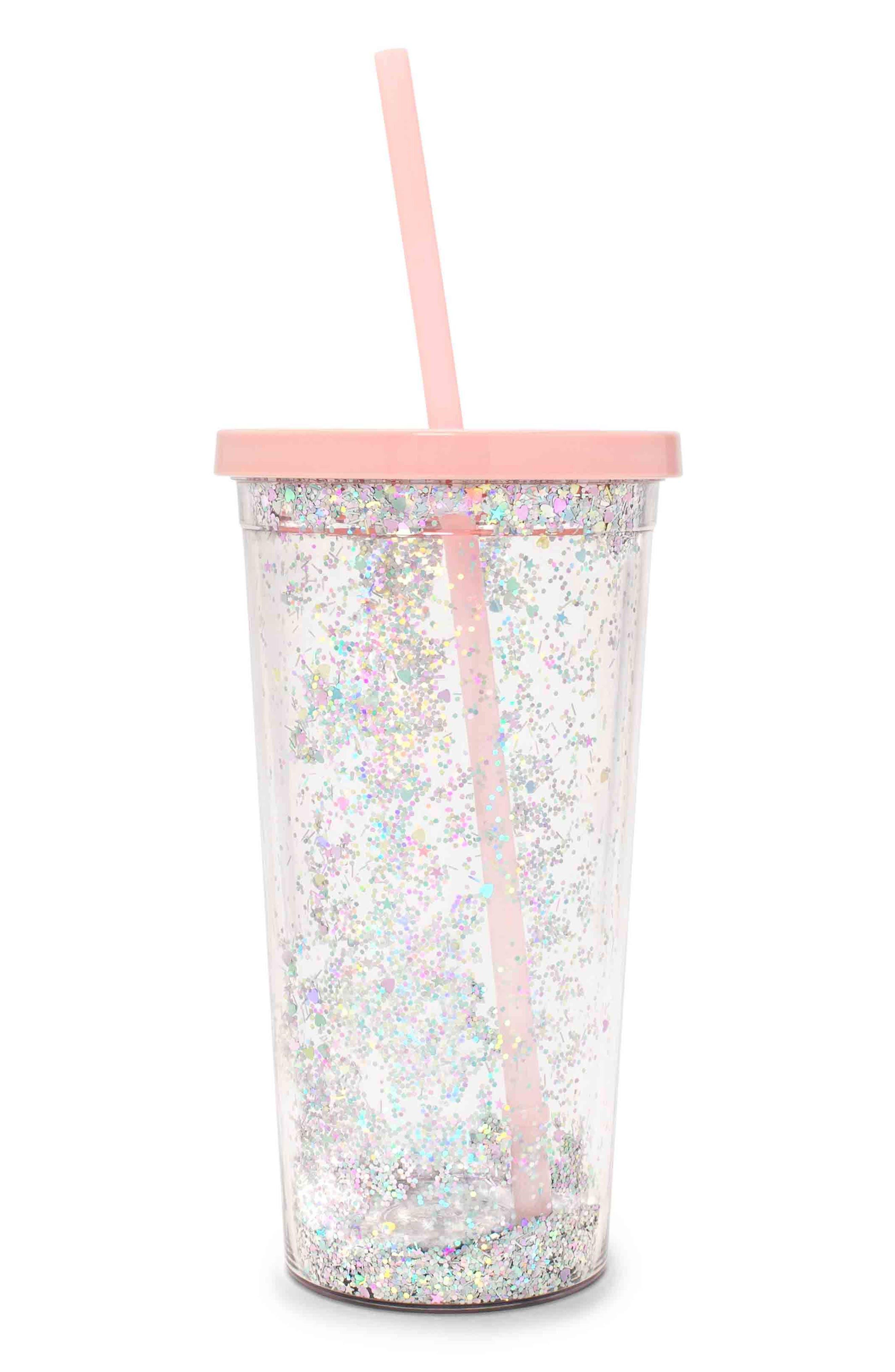 Glitter Sip Sip Travel Tumbler,                         Main,                         color, Pink