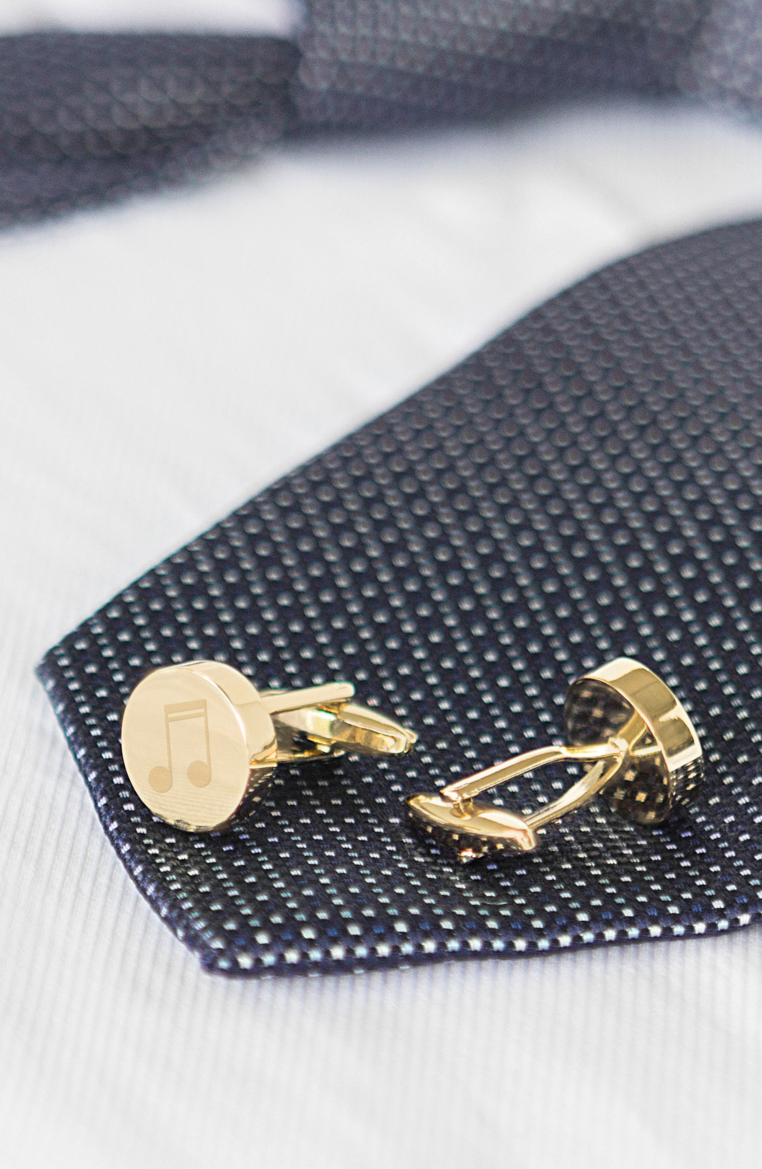 Music Notes Cuff Links,                             Alternate thumbnail 4, color,                             Gold